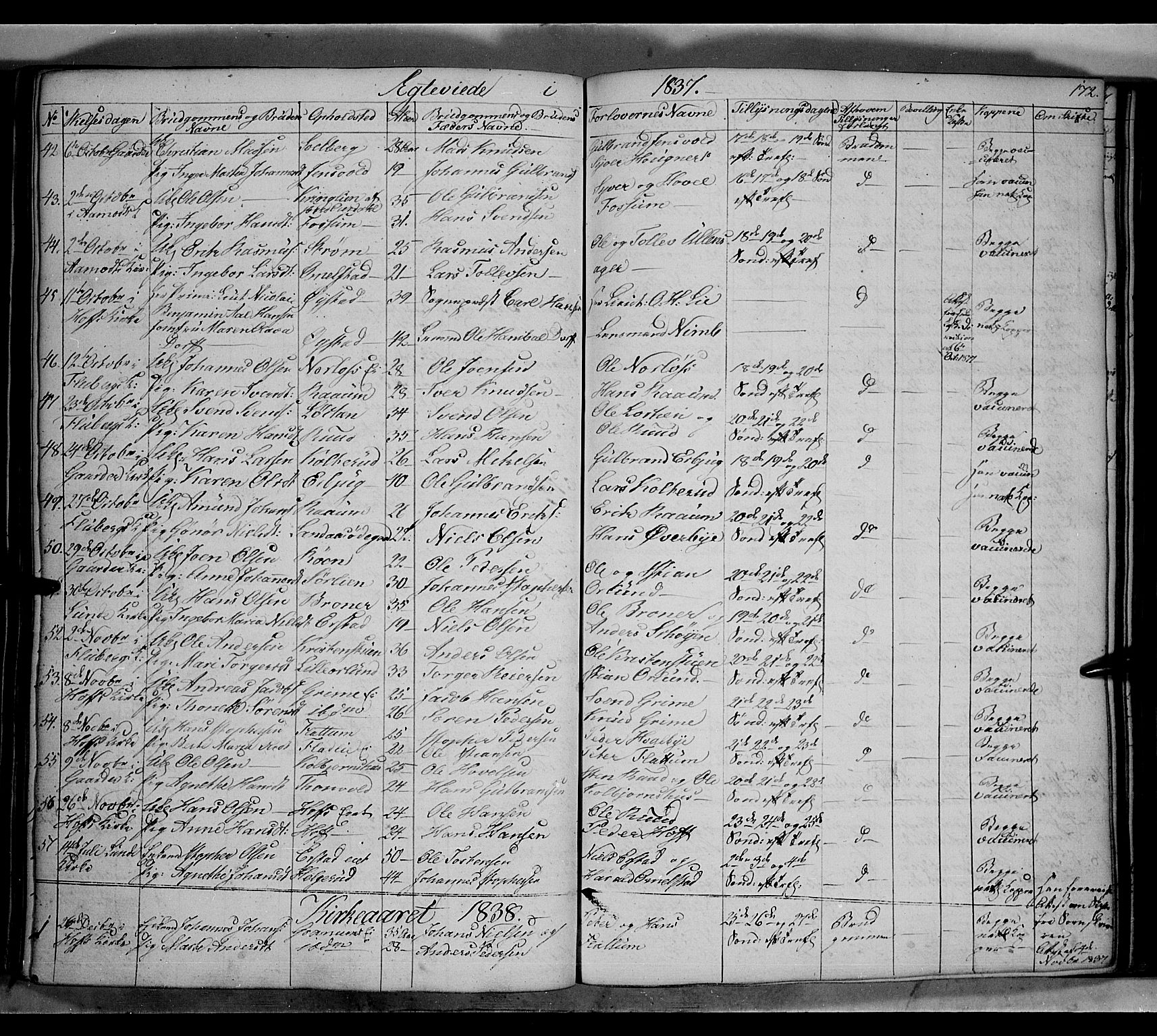 SAH, Land prestekontor, Klokkerbok nr. 2, 1833-1849, s. 172