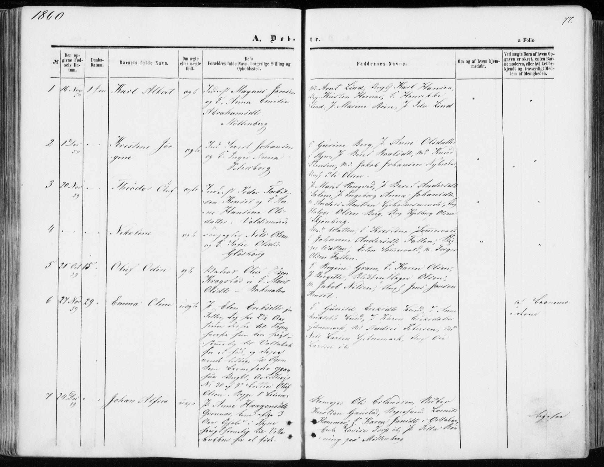 SAT, Ministerialprotokoller, klokkerbøker og fødselsregistre - Sør-Trøndelag, 606/L0292: Ministerialbok nr. 606A07, 1856-1865, s. 77
