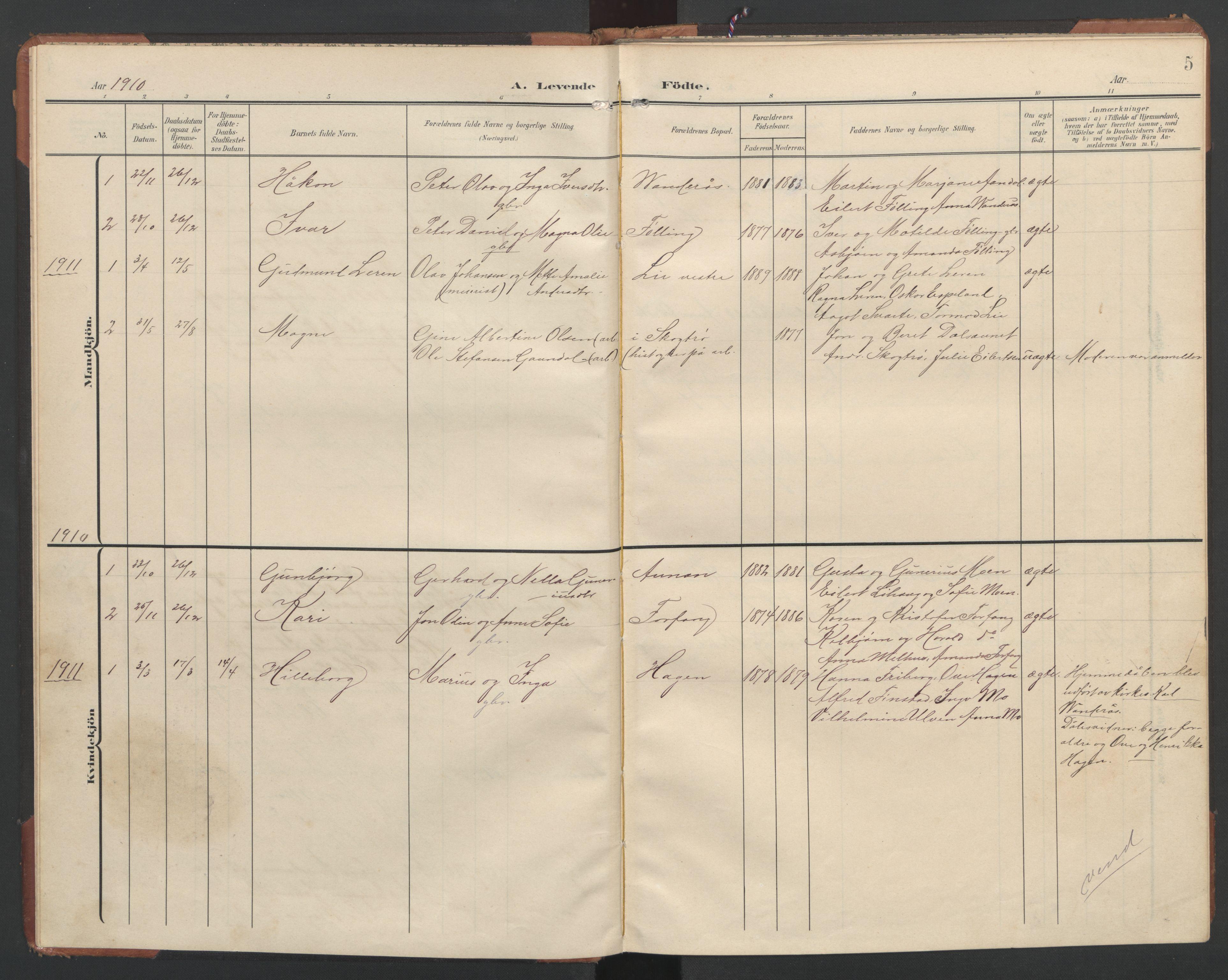 SAT, Ministerialprotokoller, klokkerbøker og fødselsregistre - Nord-Trøndelag, 748/L0465: Klokkerbok nr. 748C01, 1908-1960, s. 5