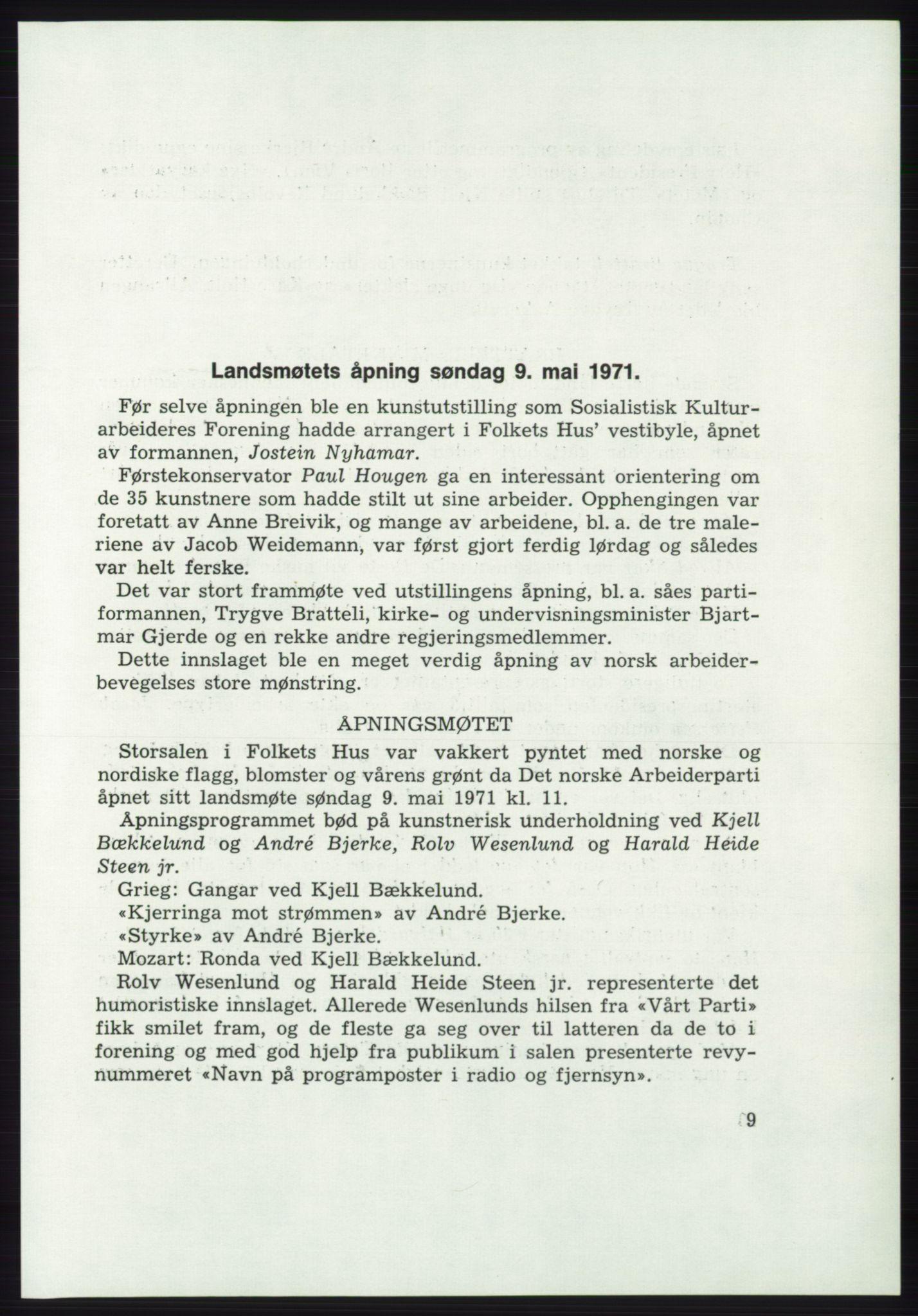 AAB, Det norske Arbeiderparti - publikasjoner, -/-: Protokoll over forhandlingene på det 43. ordinære landsmøte 9.-11. mai 1971 i Oslo, 1971, s. 9