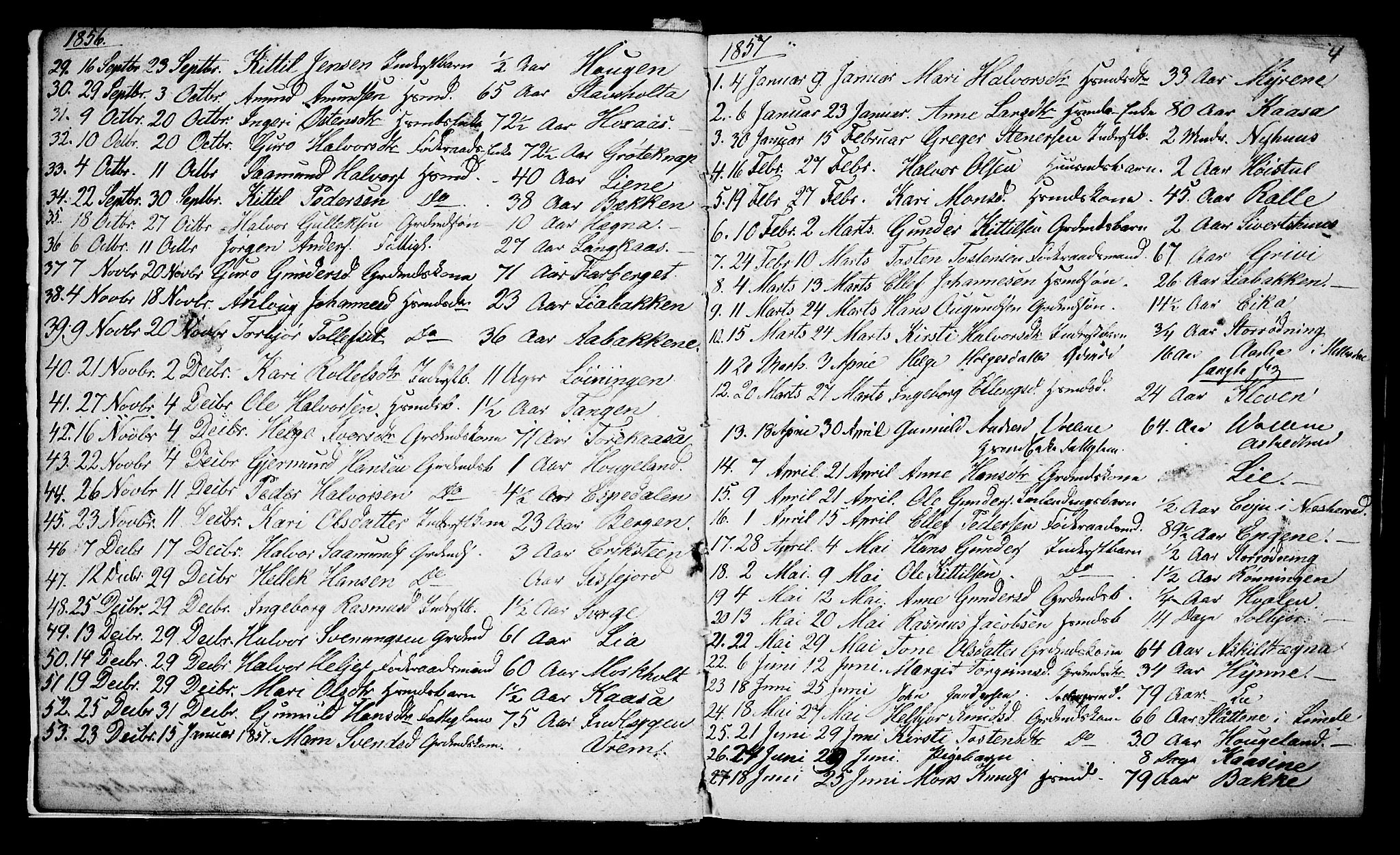 SAKO, Bø kirkebøker, G/Ga/L0002: Klokkerbok nr. 2, 1853-1866, s. 4