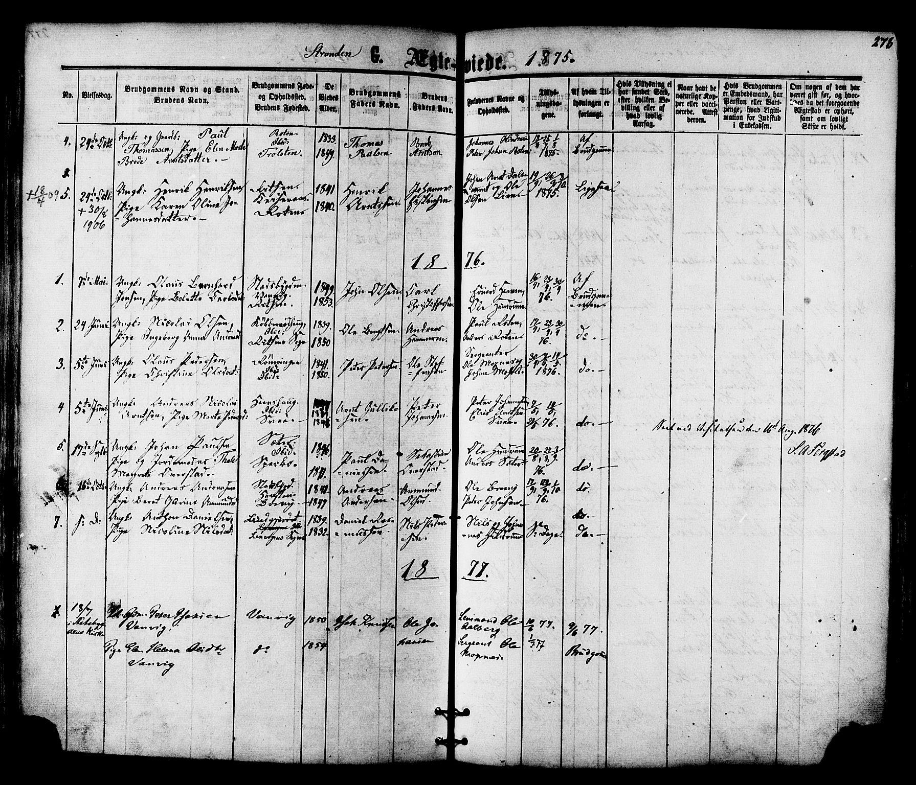 SAT, Ministerialprotokoller, klokkerbøker og fødselsregistre - Nord-Trøndelag, 701/L0009: Ministerialbok nr. 701A09 /2, 1864-1882, s. 278