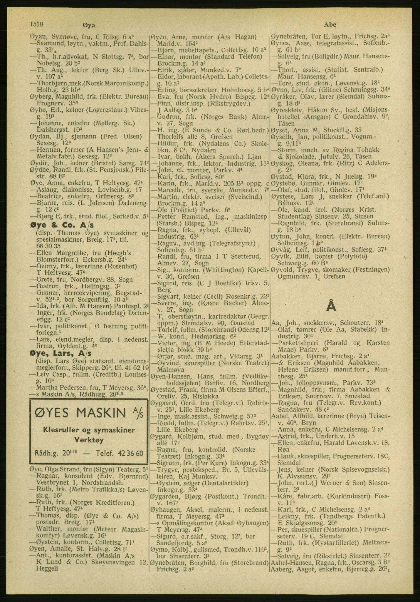 PUBL, Kristiania/Oslo adressebok, 1951, s. 1518