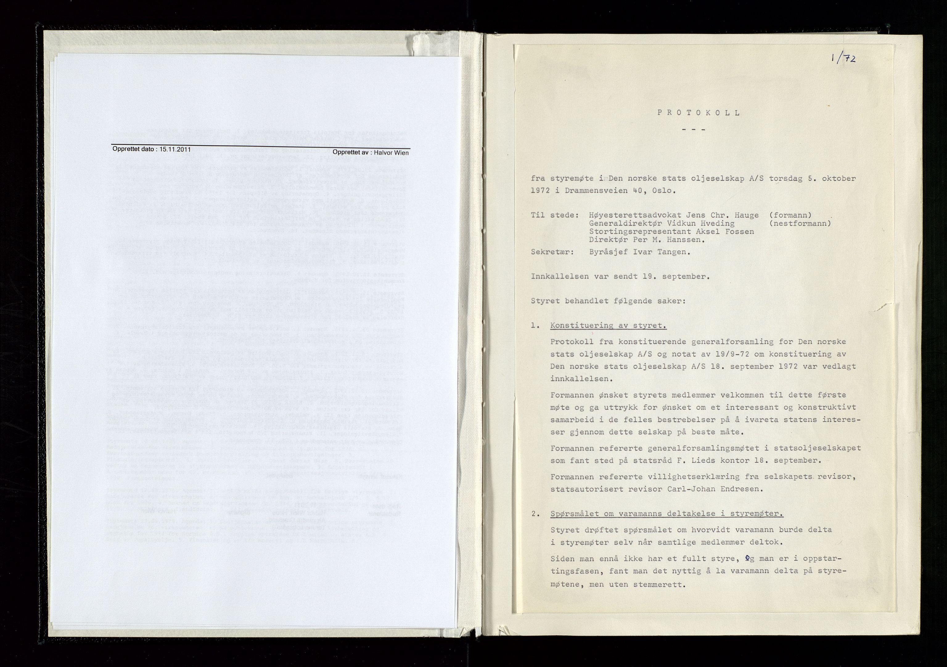 SAST, Pa 1339 - Statoil ASA, A/Ab/Aba/L0001: Styremøteprotokoller, 05.10.1972 til 14.12.1978, 1972-1978, s. 7