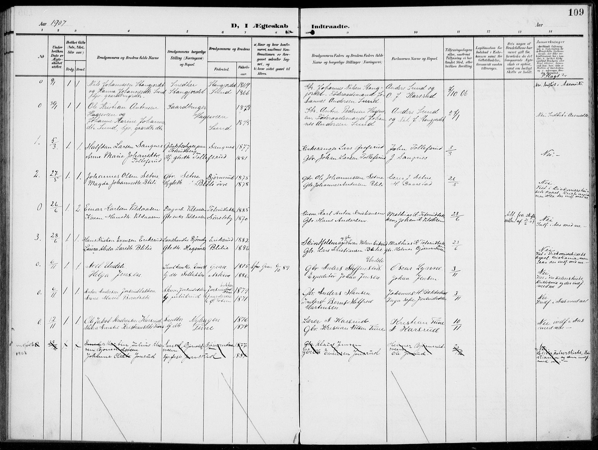 SAH, Kolbu prestekontor, Ministerialbok nr. 1, 1907-1923, s. 109