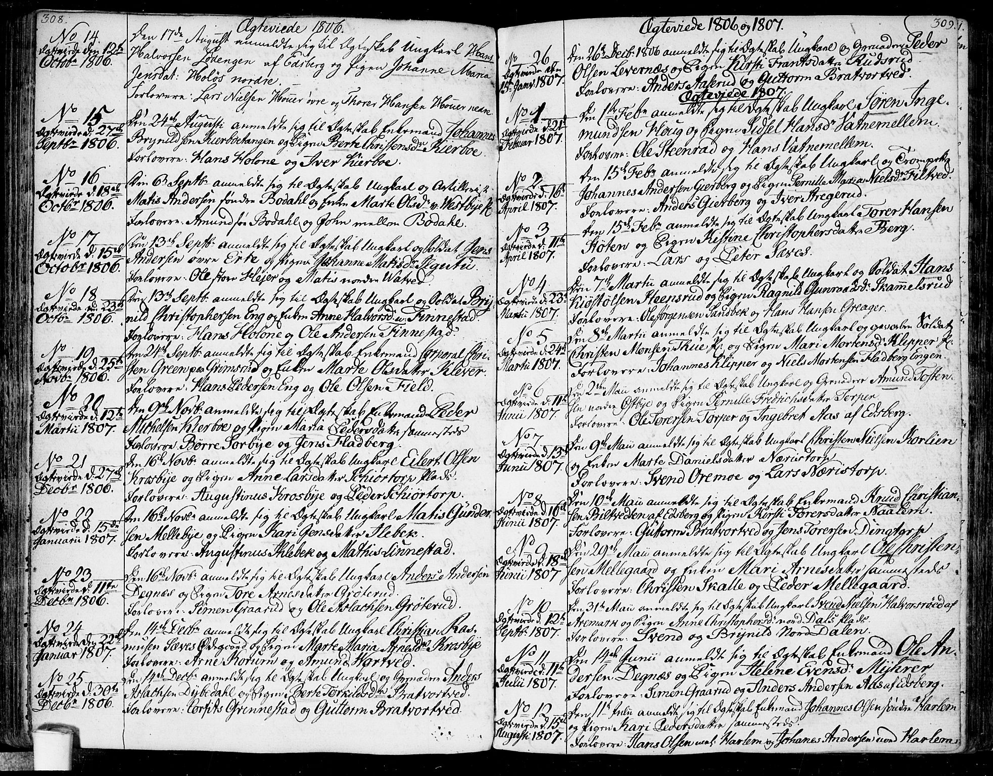 SAO, Rakkestad prestekontor Kirkebøker, F/Fa/L0005: Ministerialbok nr. I 5, 1784-1814, s. 308-309