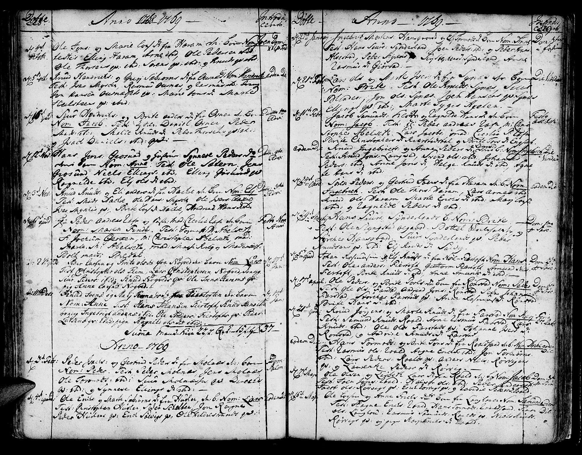 SAT, Ministerialprotokoller, klokkerbøker og fødselsregistre - Møre og Romsdal, 536/L0493: Ministerialbok nr. 536A02, 1739-1802, s. 228-229