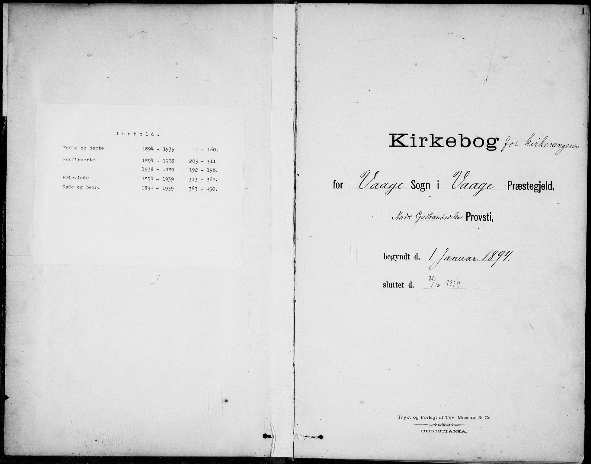 SAH, Vågå prestekontor, Klokkerbok nr. 2, 1894-1939, s. 1