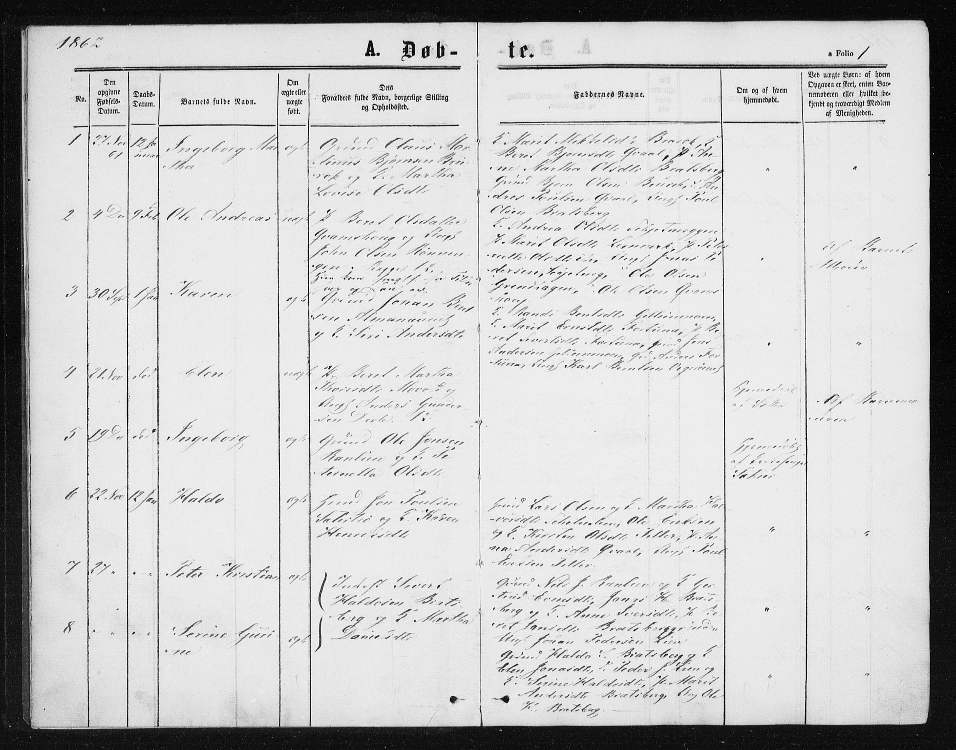 SAT, Ministerialprotokoller, klokkerbøker og fødselsregistre - Sør-Trøndelag, 608/L0333: Ministerialbok nr. 608A02, 1862-1876, s. 1