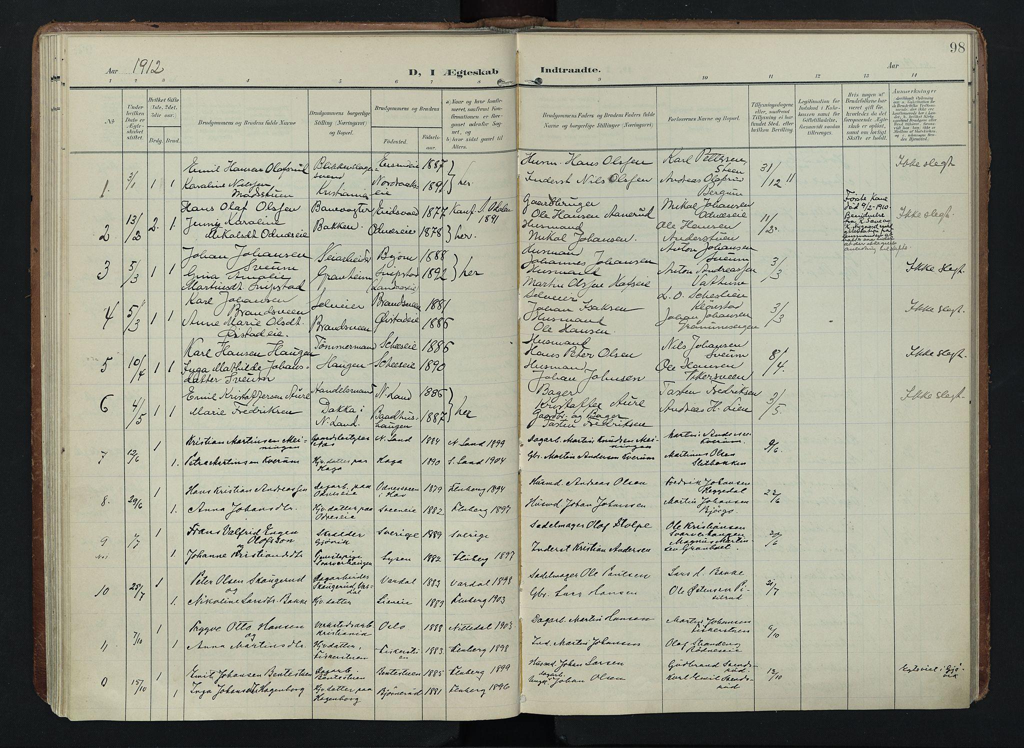 SAH, Søndre Land prestekontor, K/L0005: Ministerialbok nr. 5, 1905-1914, s. 98