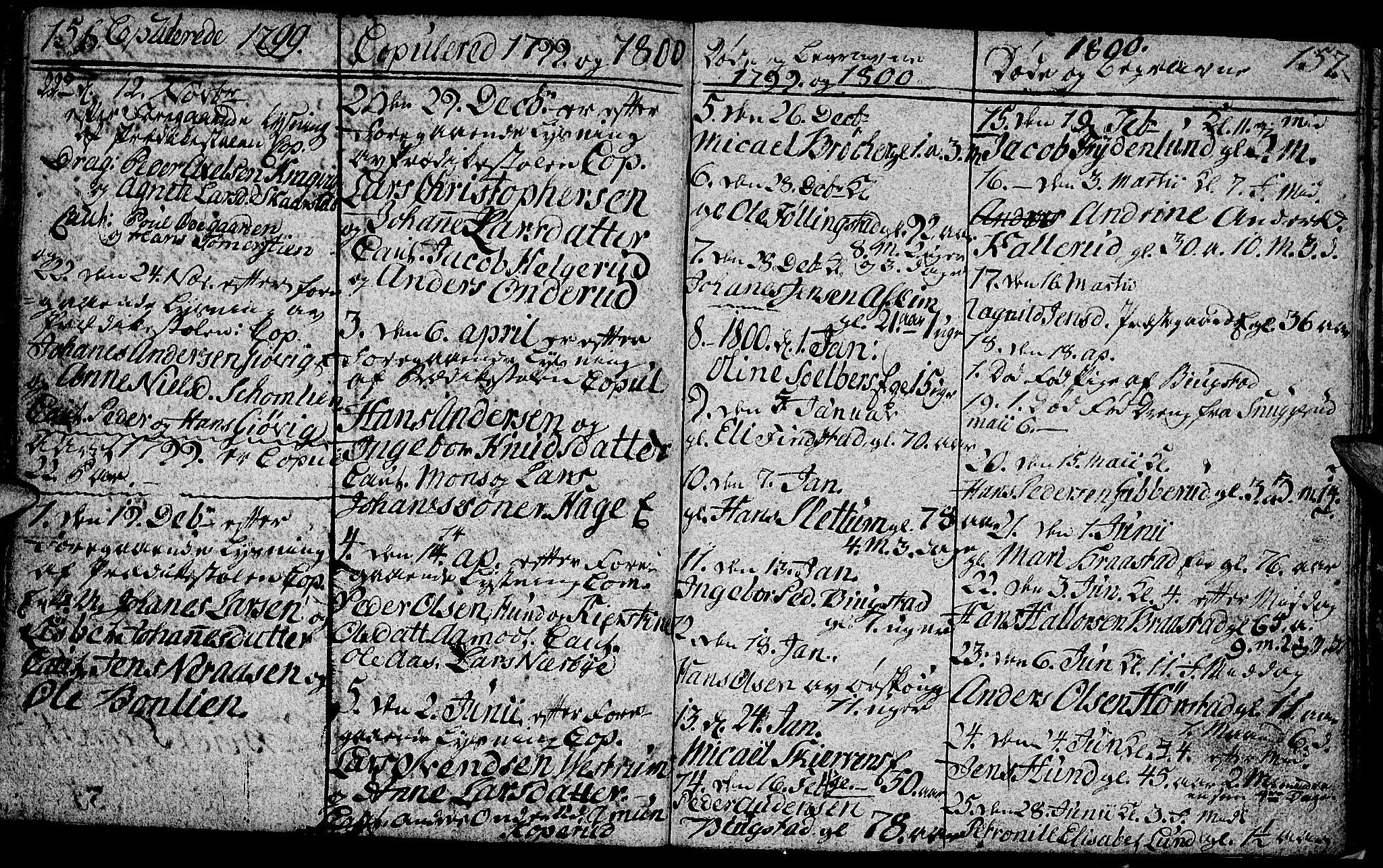SAH, Vardal prestekontor, H/Ha/Hab/L0002: Klokkerbok nr. 2, 1790-1803, s. 156-157