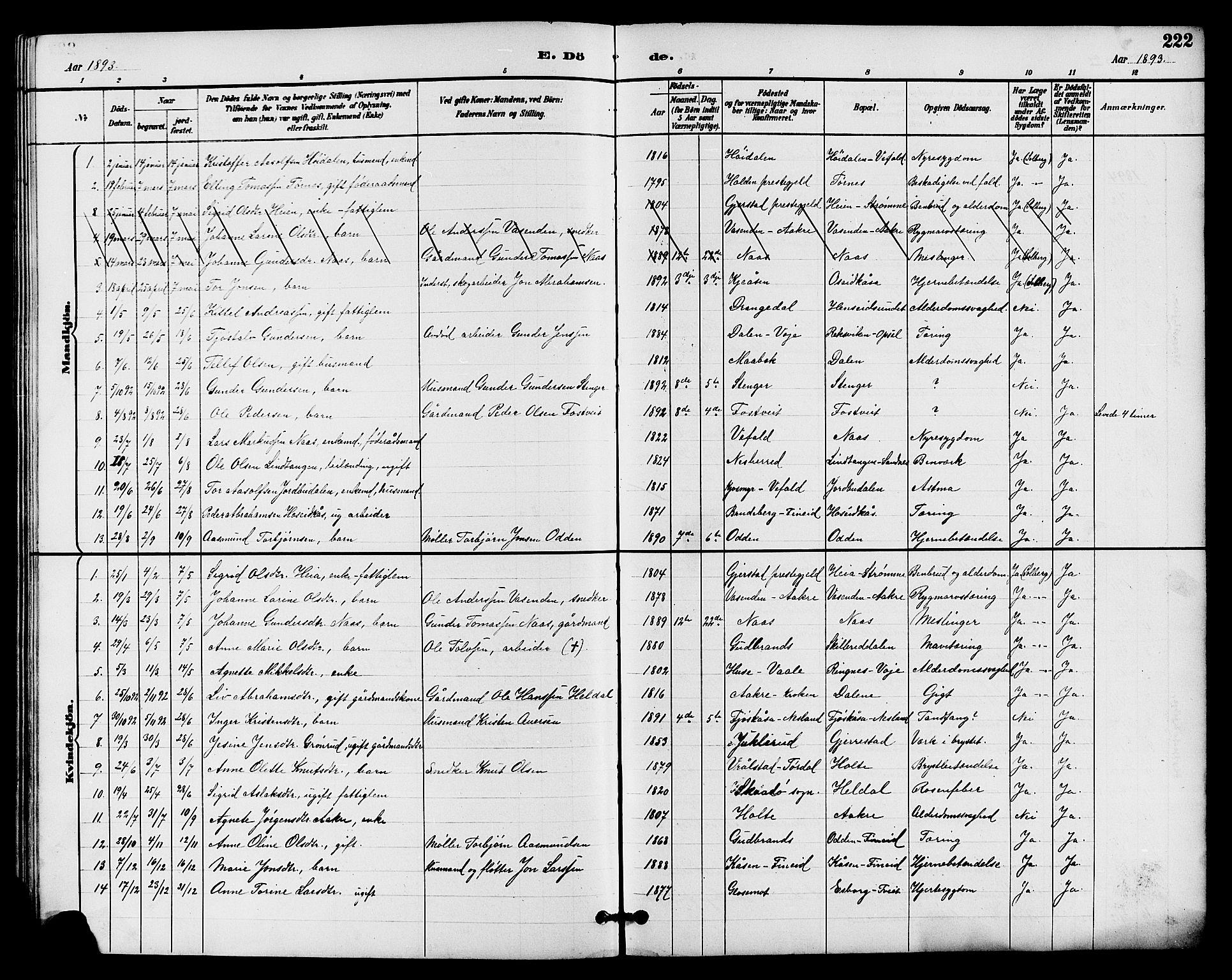SAKO, Drangedal kirkebøker, G/Ga/L0003: Klokkerbok nr. I 3, 1887-1906, s. 222