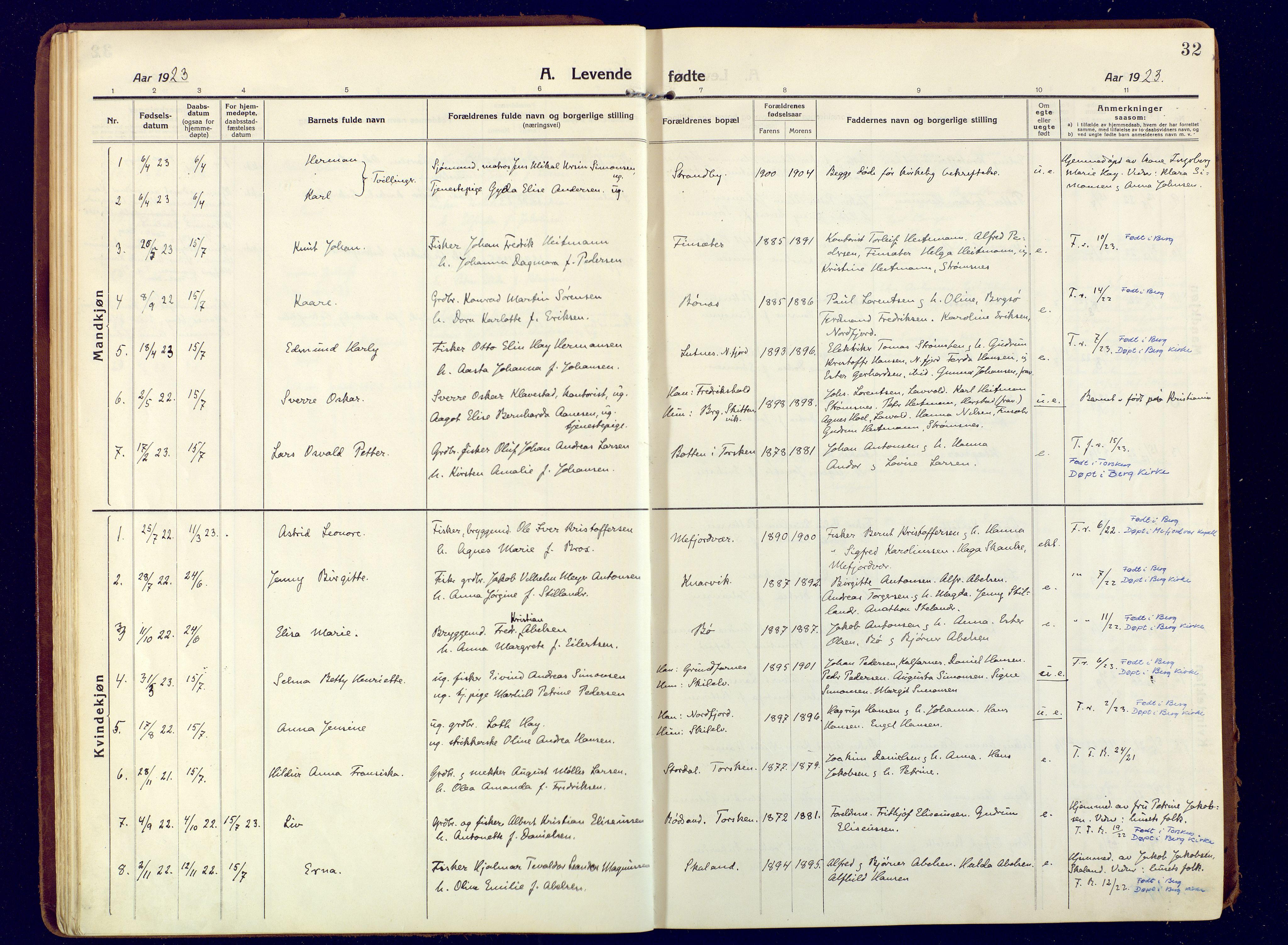 SATØ, Mefjord/Berg sokneprestkontor, G/Ga/Gaa: Ministerialbok nr. 9, 1916-1928, s. 32