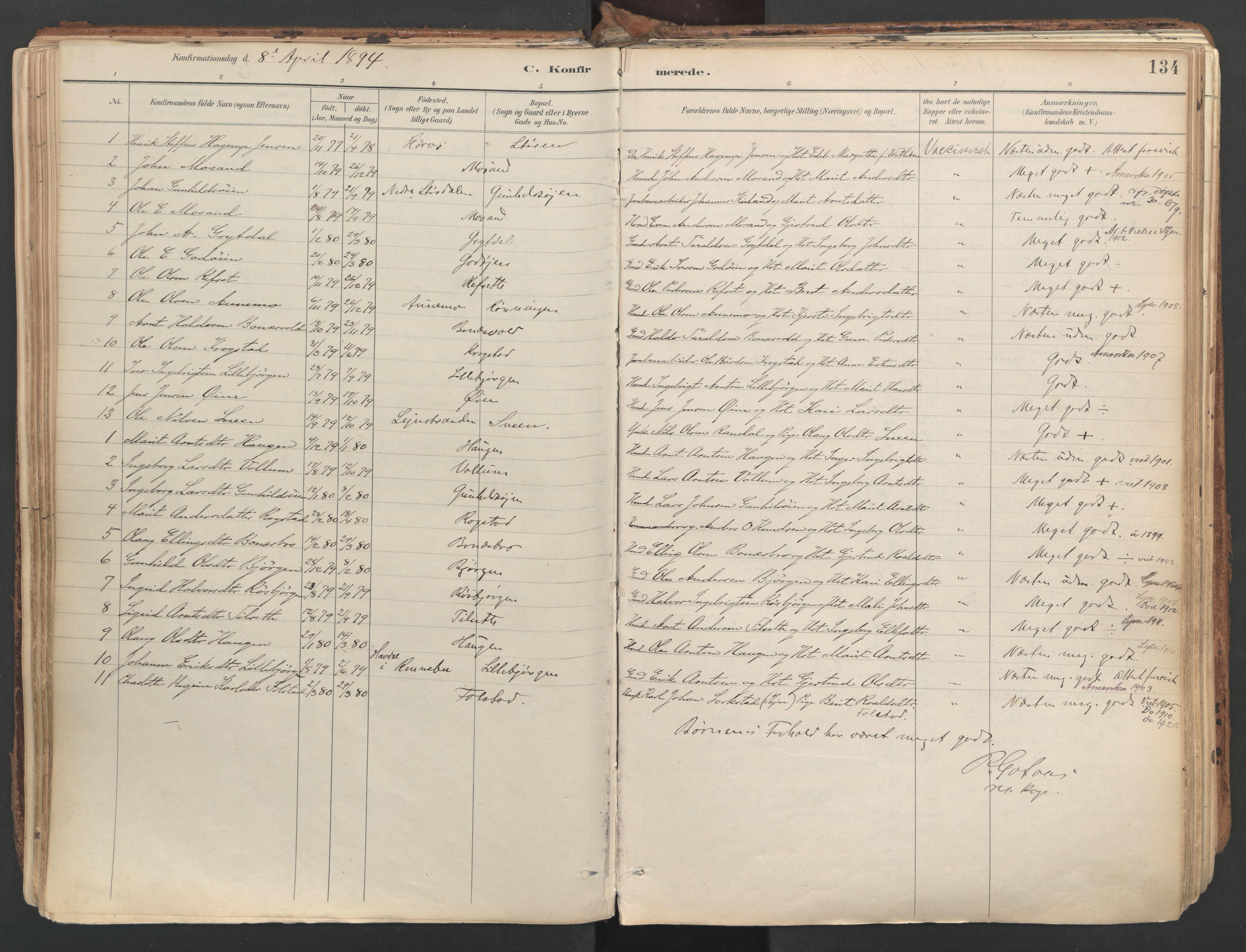 SAT, Ministerialprotokoller, klokkerbøker og fødselsregistre - Sør-Trøndelag, 687/L1004: Ministerialbok nr. 687A10, 1891-1923, s. 134