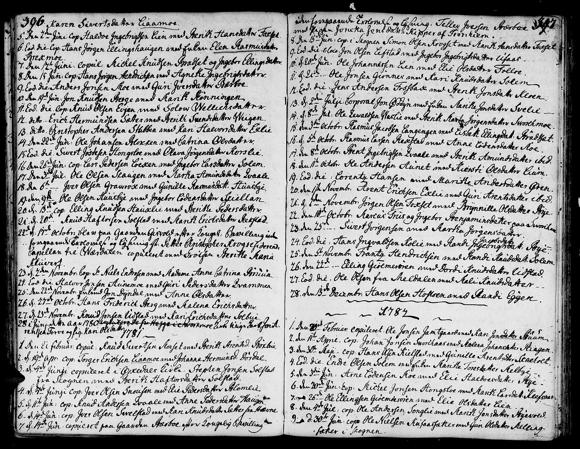SAT, Ministerialprotokoller, klokkerbøker og fødselsregistre - Sør-Trøndelag, 668/L0802: Ministerialbok nr. 668A02, 1776-1799, s. 396-397
