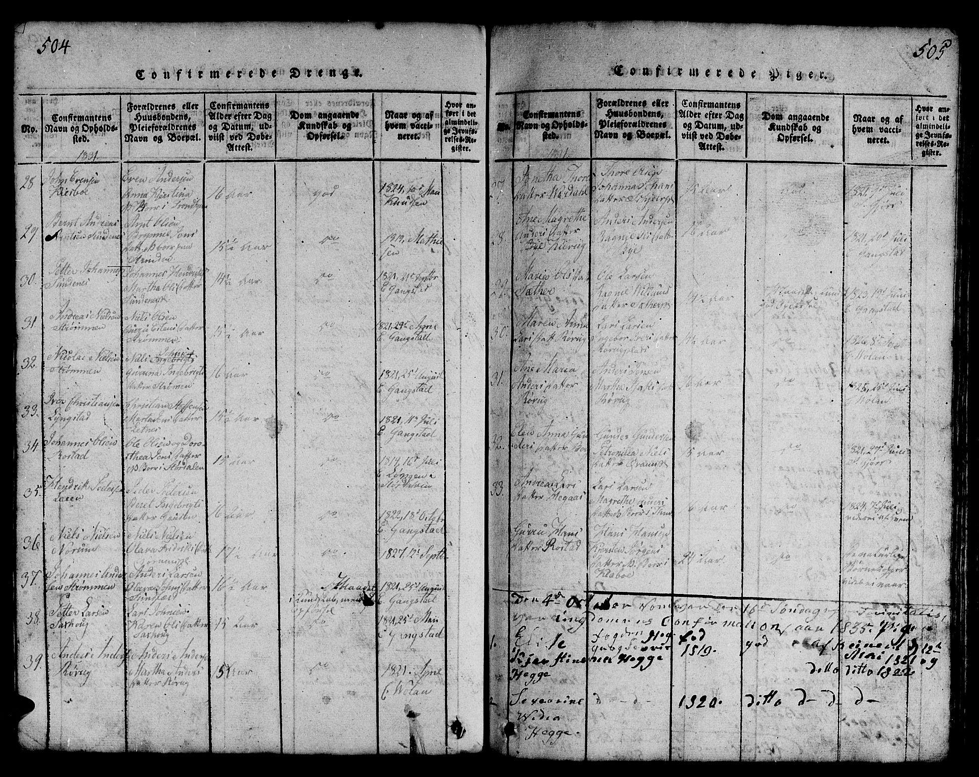 SAT, Ministerialprotokoller, klokkerbøker og fødselsregistre - Nord-Trøndelag, 730/L0298: Klokkerbok nr. 730C01, 1816-1849, s. 504-505