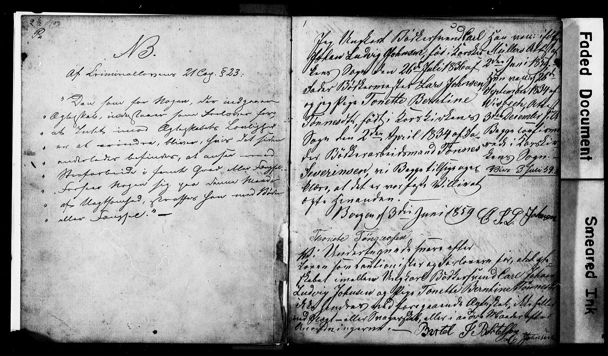 SAB, Korskirken Sokneprestembete, Forlovererklæringer nr. II.5.2, 1859-1865, s. 1
