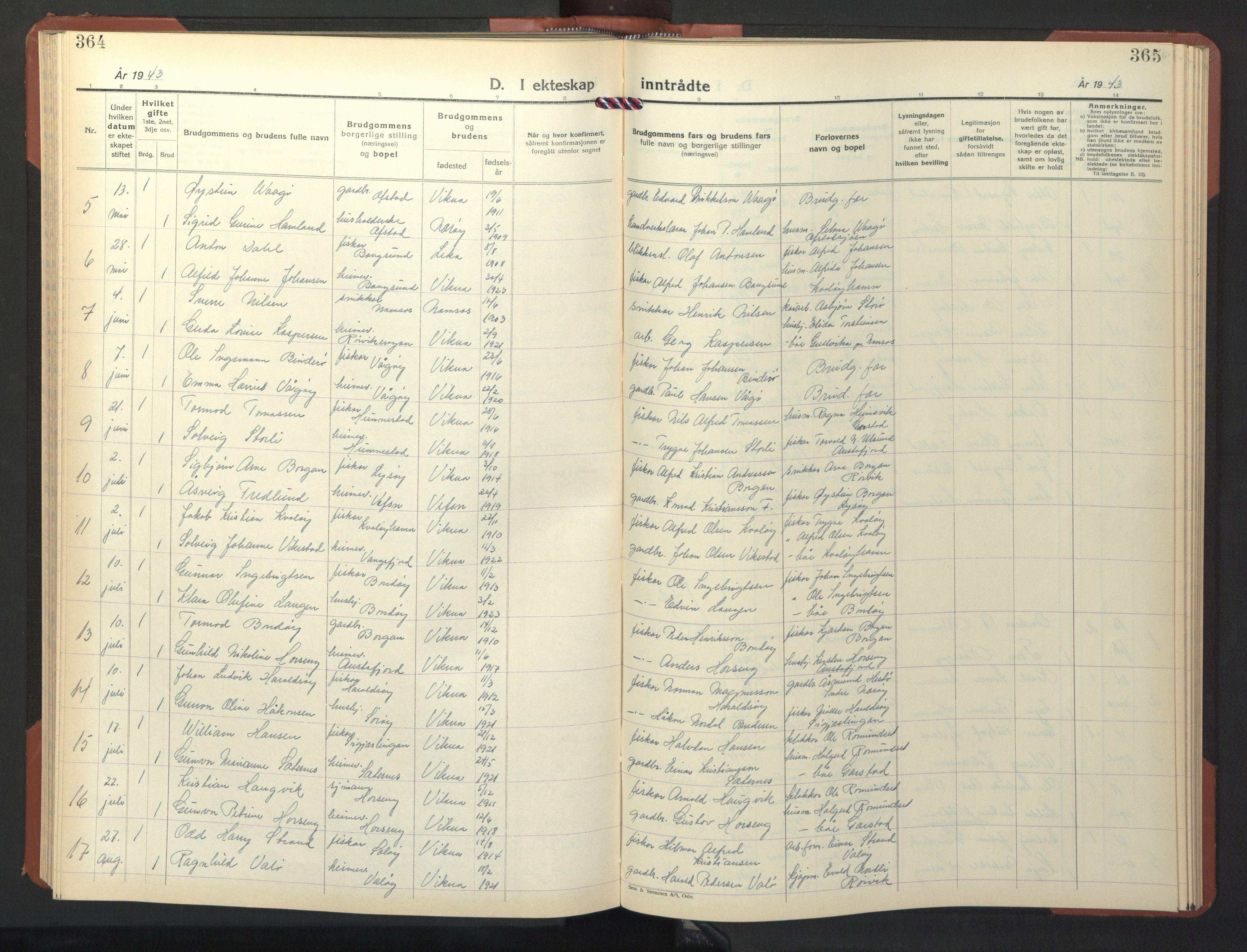 SAT, Ministerialprotokoller, klokkerbøker og fødselsregistre - Nord-Trøndelag, 786/L0689: Klokkerbok nr. 786C01, 1940-1948, s. 364-365