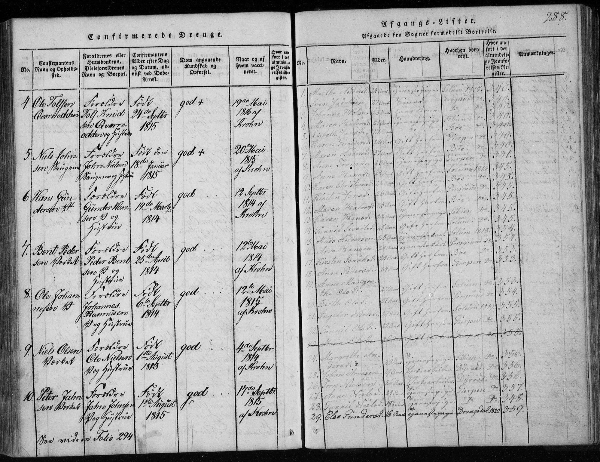 SAKO, Holla kirkebøker, F/Fa/L0003: Ministerialbok nr. 3, 1815-1830, s. 288