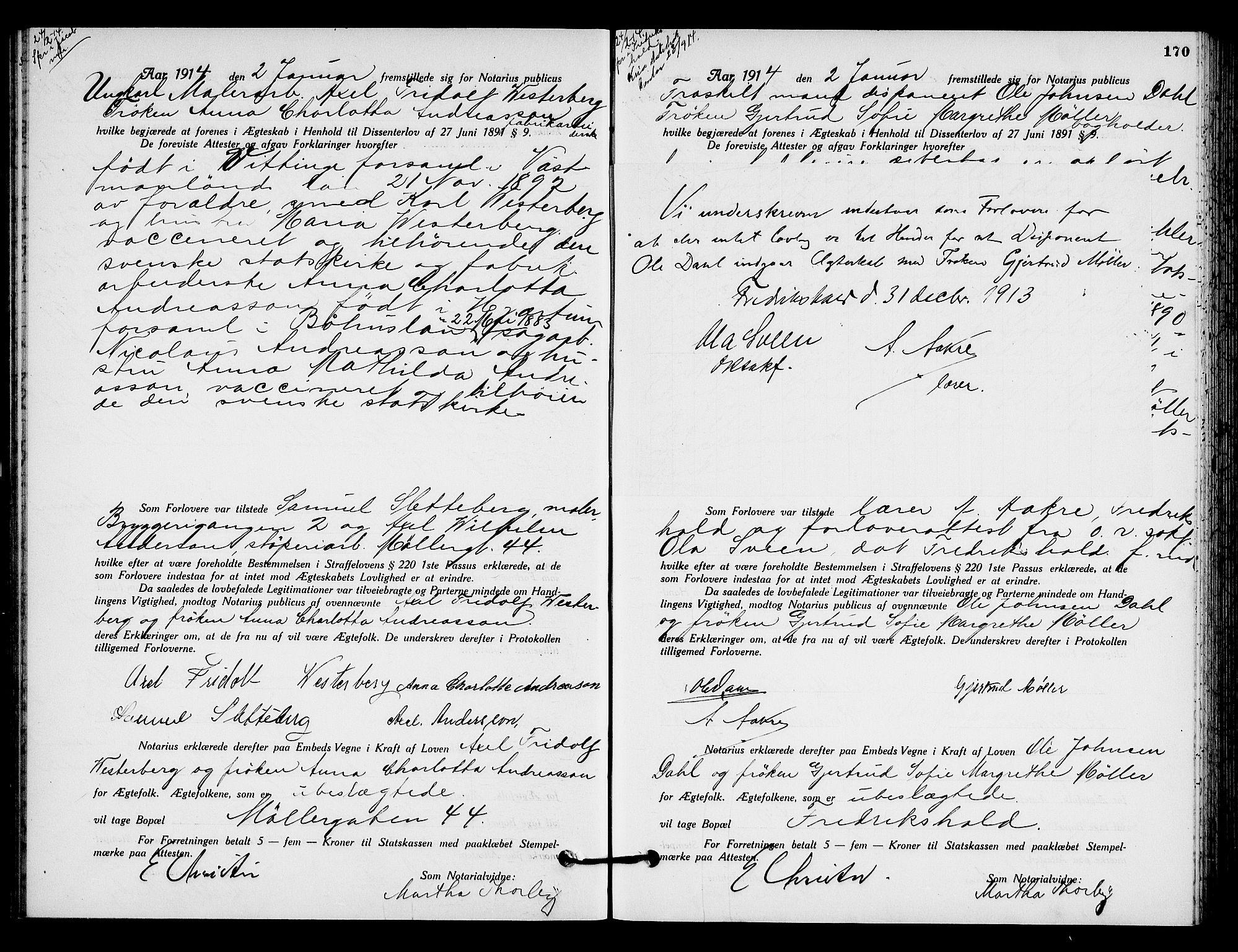 SAO, Oslo byfogd avd. I, L/Lb/Lbb/L0009: Notarialprotokoll, rekke II: Vigsler, 1913-1914, s. 169b-170a