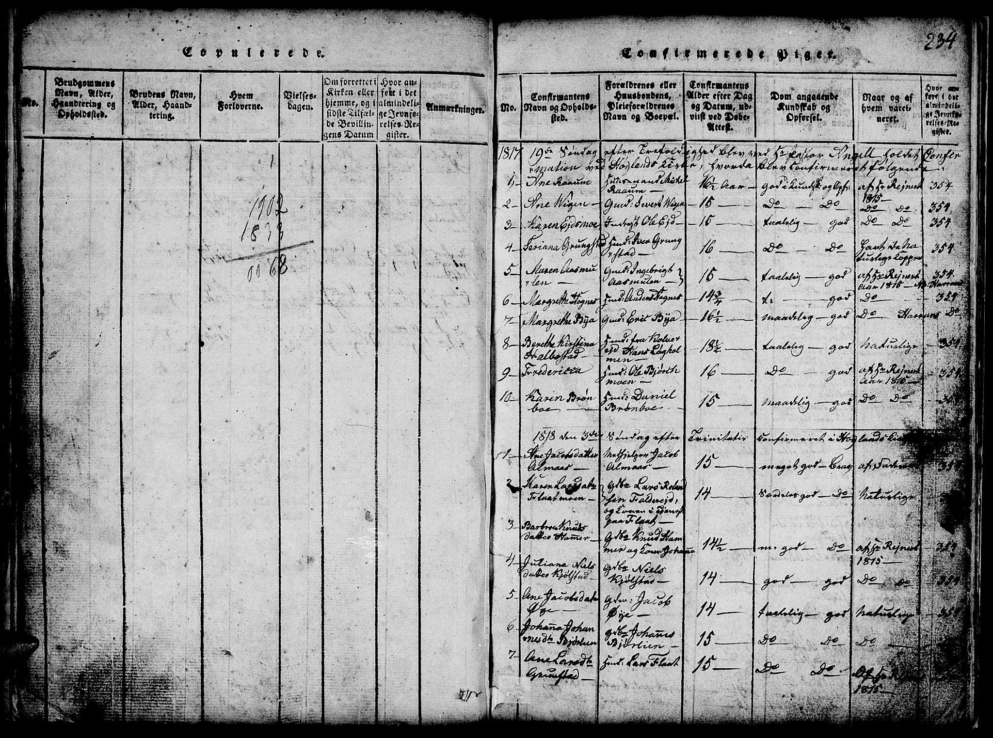 SAT, Ministerialprotokoller, klokkerbøker og fødselsregistre - Nord-Trøndelag, 765/L0562: Klokkerbok nr. 765C01, 1817-1851, s. 234