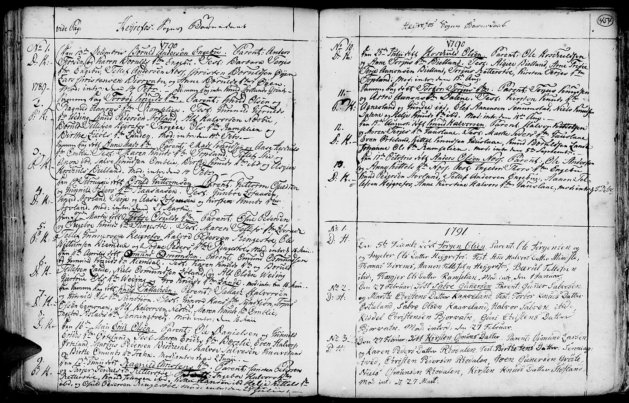 SAK, Hommedal sokneprestkontor, F/Fa/Fab/L0002: Ministerialbok nr. A 2 /3, 1740-1821, s. 454