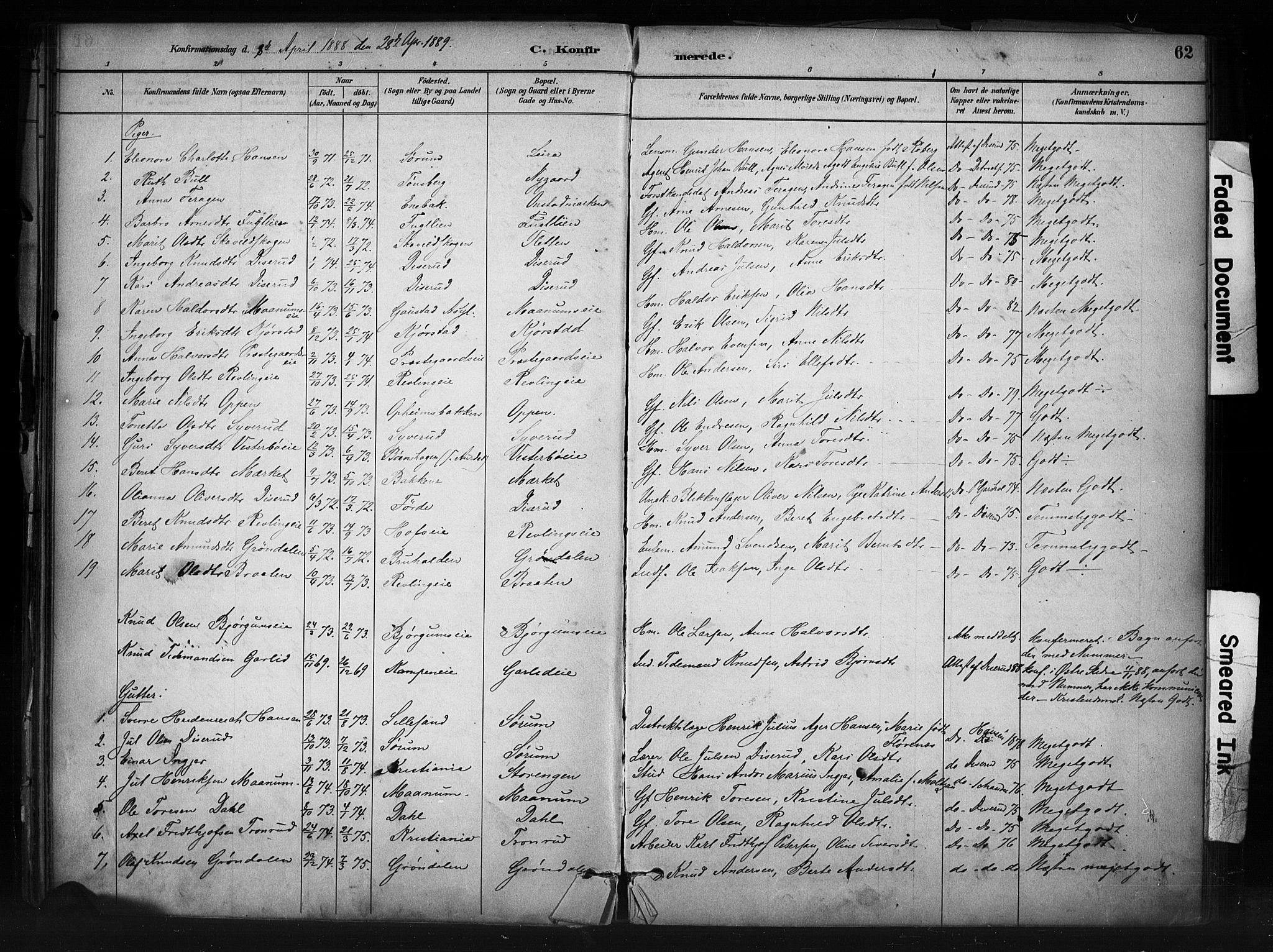 SAH, Nord-Aurdal prestekontor, Ministerialbok nr. 13, 1883-1895, s. 62
