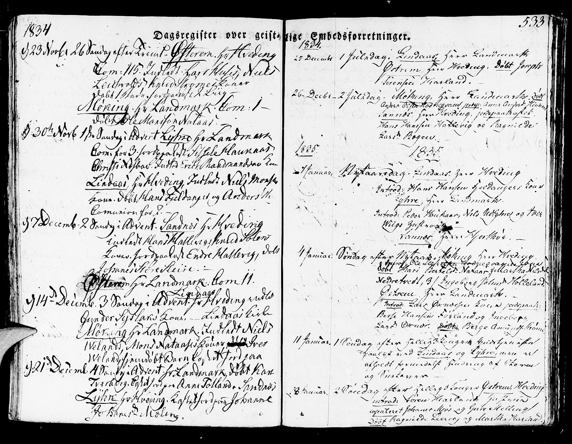 SAB, Lindås Sokneprestembete, H/Haa: Ministerialbok nr. A 8, 1823-1836, s. 533