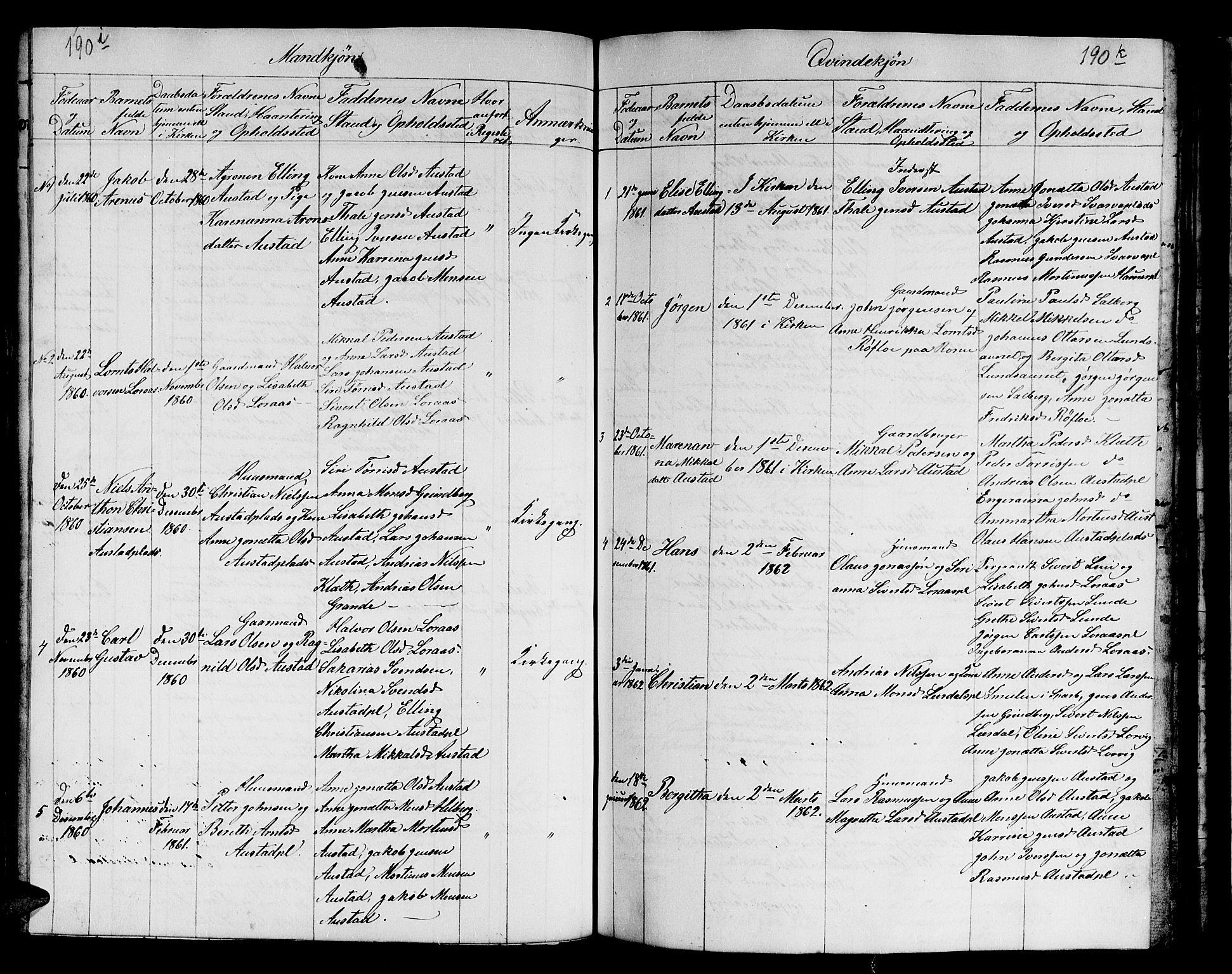 SAT, Ministerialprotokoller, klokkerbøker og fødselsregistre - Nord-Trøndelag, 731/L0310: Klokkerbok nr. 731C01, 1816-1874, s. 190i-190j