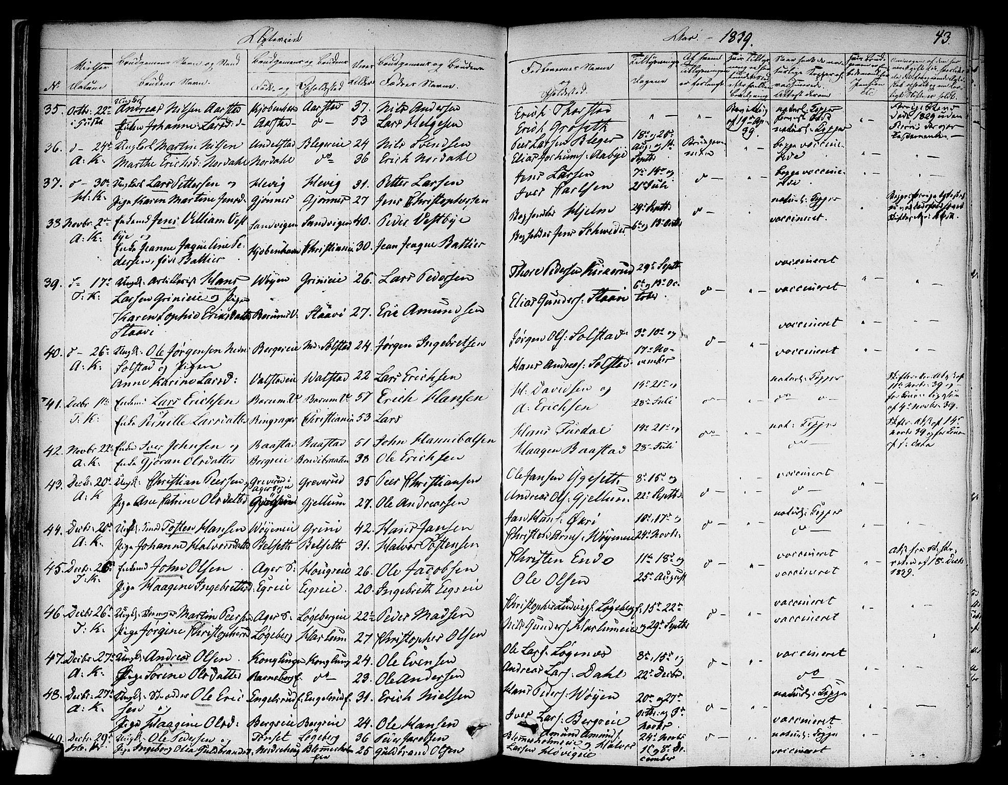 SAO, Asker prestekontor Kirkebøker, F/Fa/L0010: Ministerialbok nr. I 10, 1825-1878, s. 43
