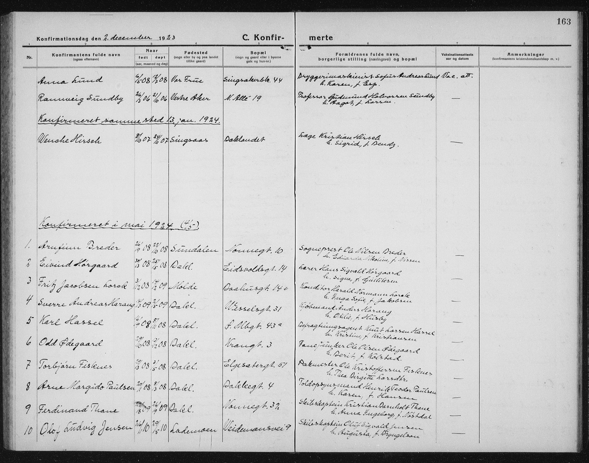 SAT, Ministerialprotokoller, klokkerbøker og fødselsregistre - Sør-Trøndelag, 604/L0227: Klokkerbok nr. 604C10, 1923-1942, s. 163