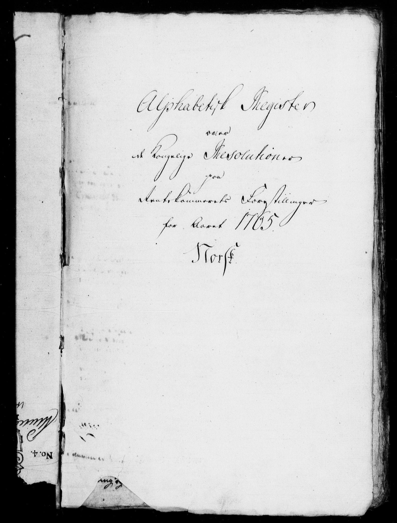 RA, Rentekammeret, Kammerkanselliet, G/Gf/Gfb/L0007: Register til norske relasjons- og resolusjonsprotokoller (merket RK 52.102), 1765-1771, s. 2