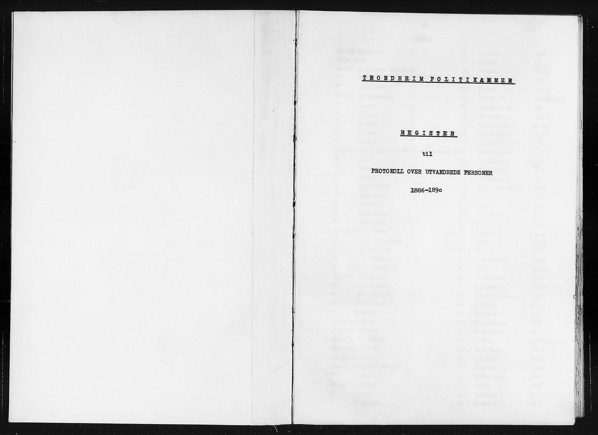 SAT, Trondheim politikammer, 32/L0019: Registre til emigrantprotokollene, 1886-1890