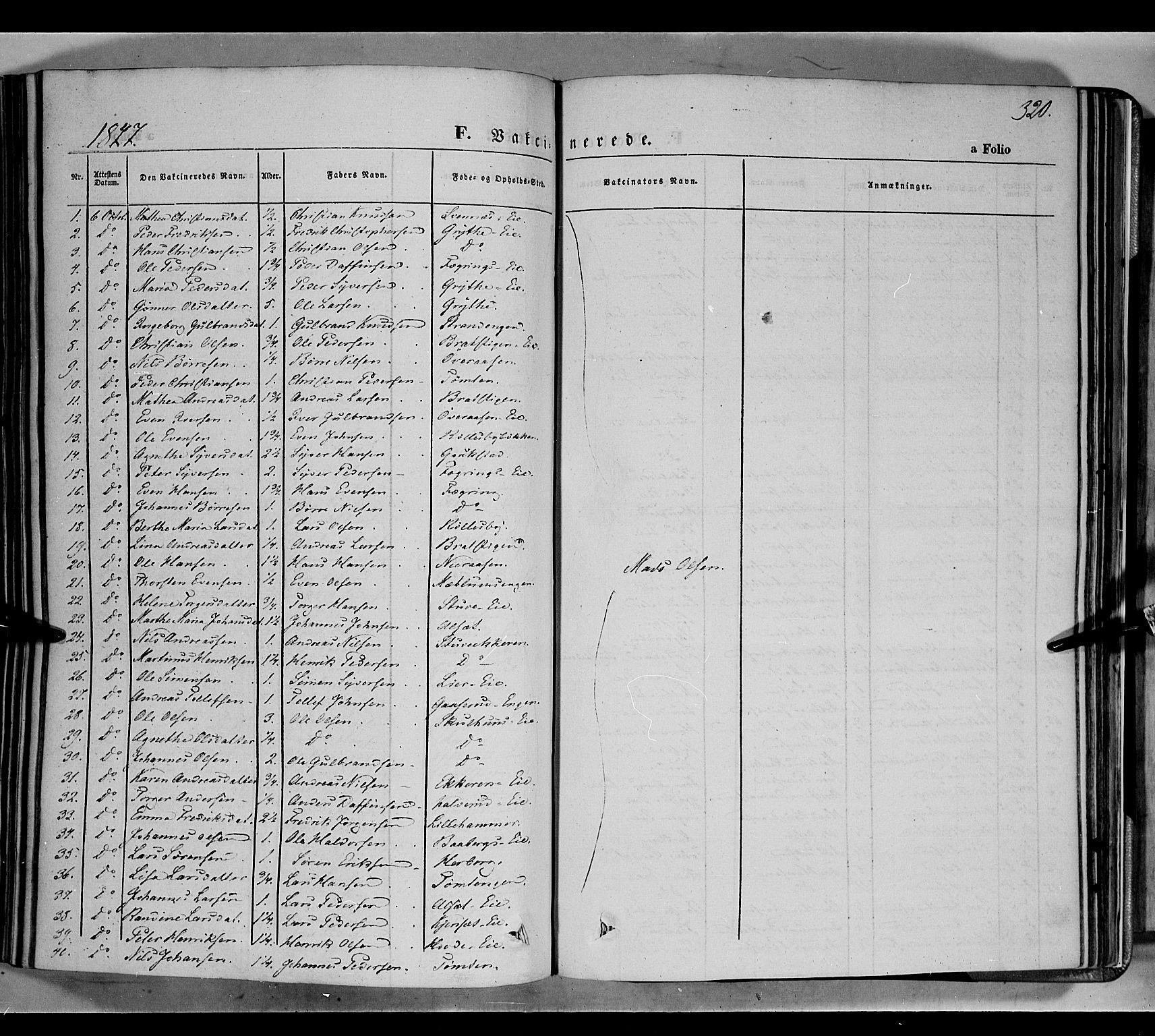 SAH, Biri prestekontor, Ministerialbok nr. 5, 1843-1854, s. 320