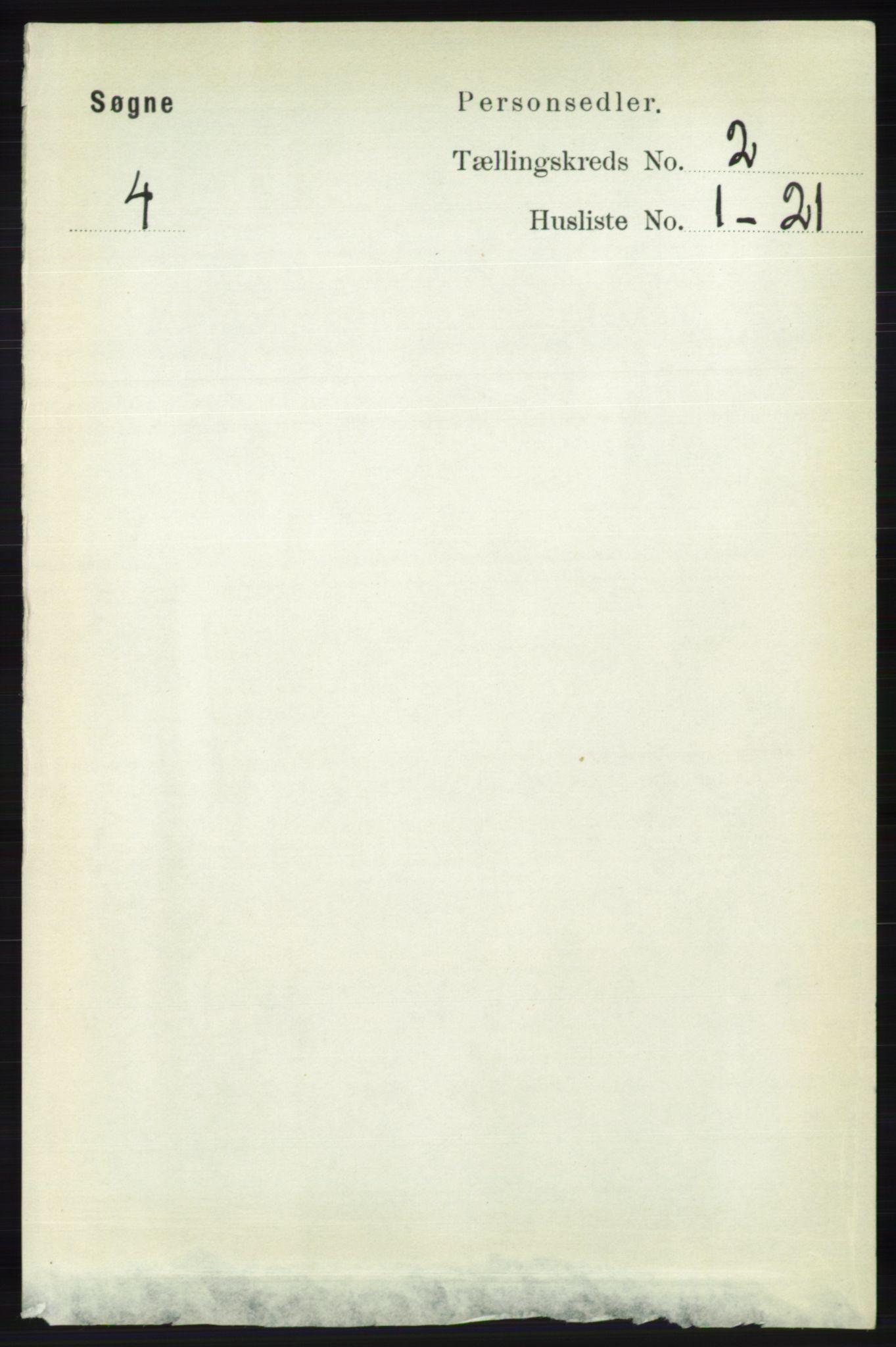 RA, Folketelling 1891 for 1018 Søgne herred, 1891, s. 157