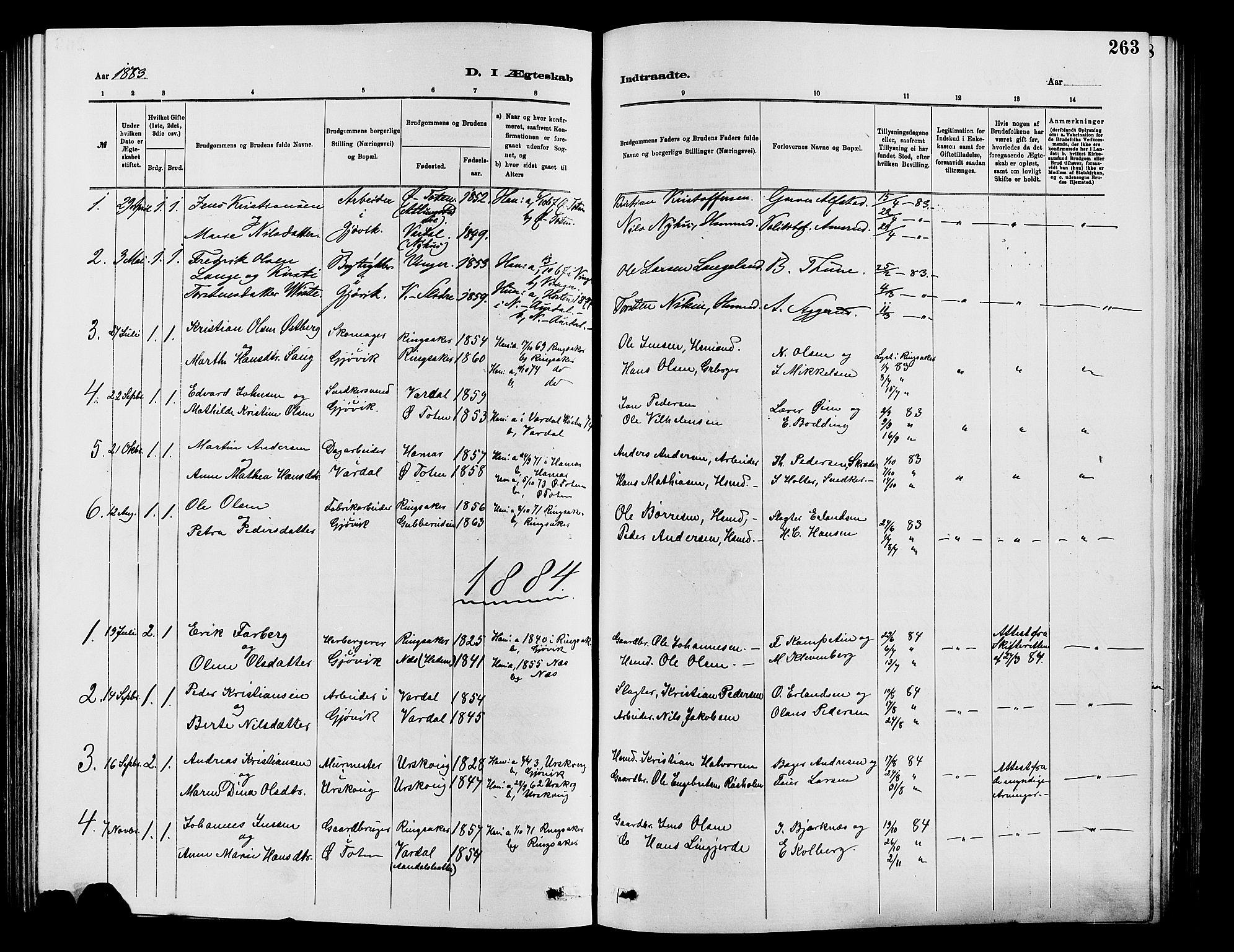 SAH, Vardal prestekontor, H/Ha/Hab/L0007: Klokkerbok nr. 7 /2, 1881-1895, s. 263