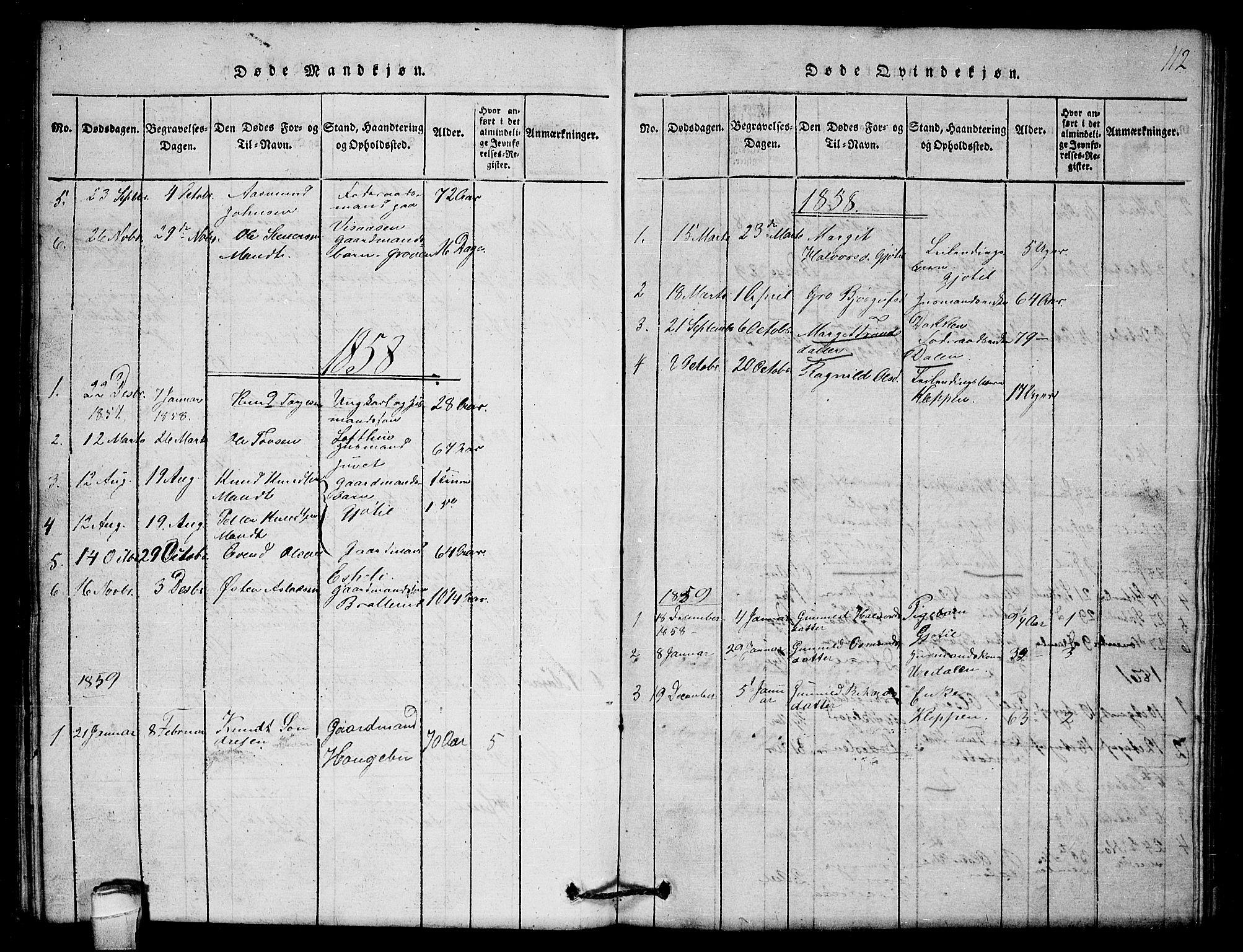 SAKO, Lårdal kirkebøker, G/Gb/L0001: Klokkerbok nr. II 1, 1815-1865, s. 112