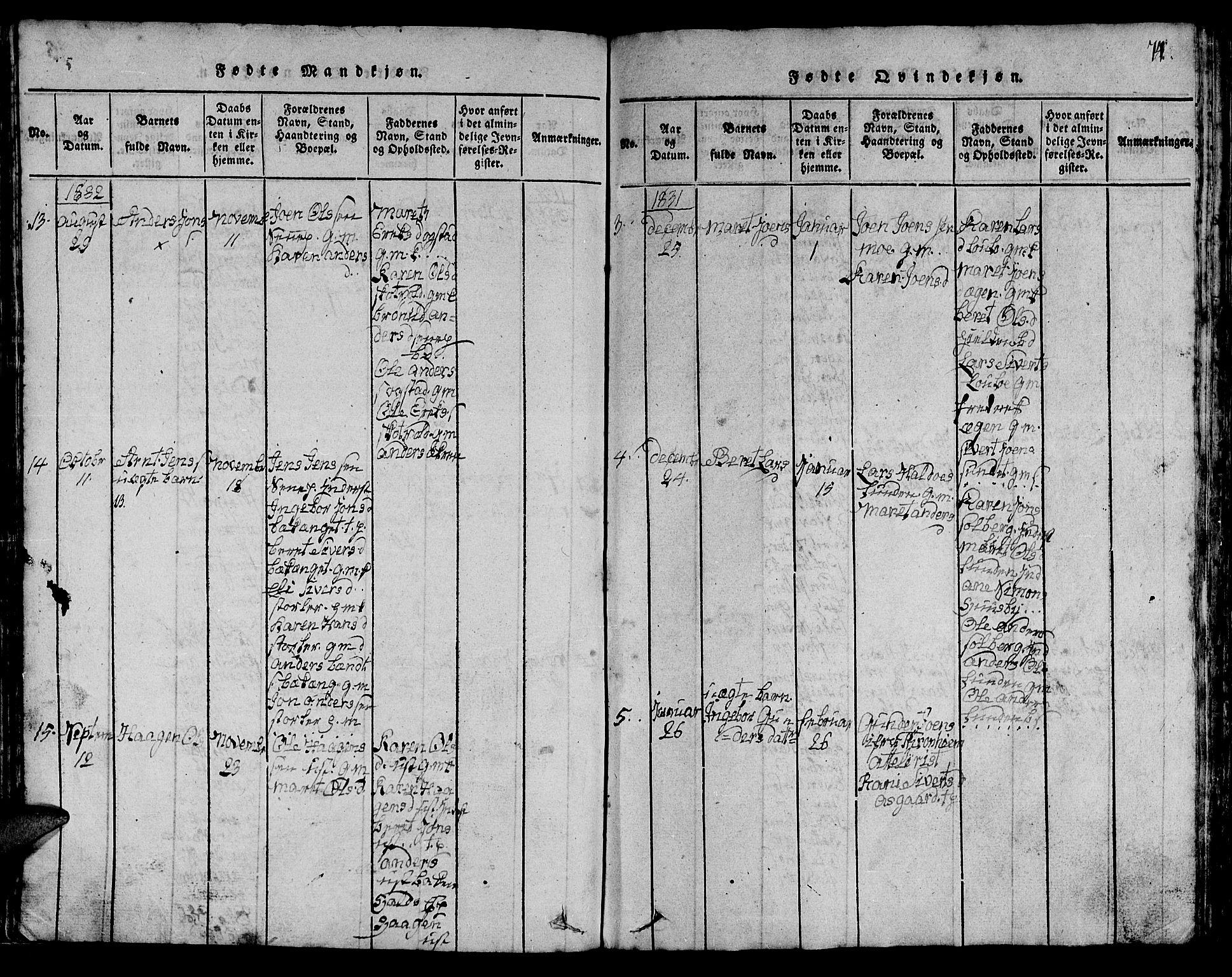 SAT, Ministerialprotokoller, klokkerbøker og fødselsregistre - Sør-Trøndelag, 613/L0393: Klokkerbok nr. 613C01, 1816-1886, s. 74