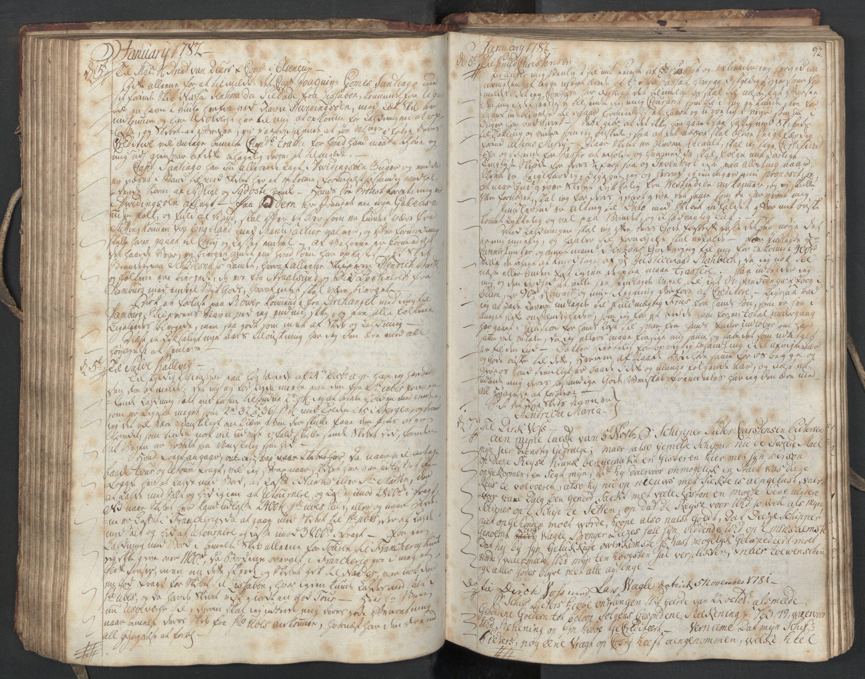 SAST, Pa 0003 - Ploug & Sundt, handelshuset, B/L0004: Kopibok, 1780-1784, s. 91b-92a