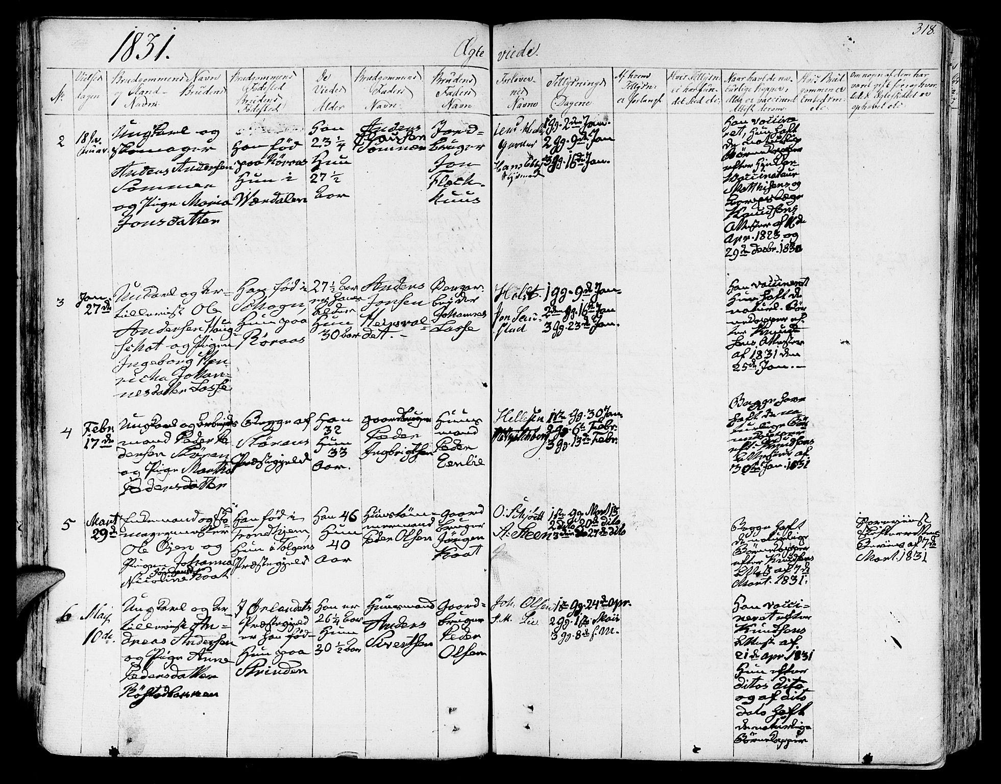 SAT, Ministerialprotokoller, klokkerbøker og fødselsregistre - Sør-Trøndelag, 602/L0109: Ministerialbok nr. 602A07, 1821-1840, s. 318
