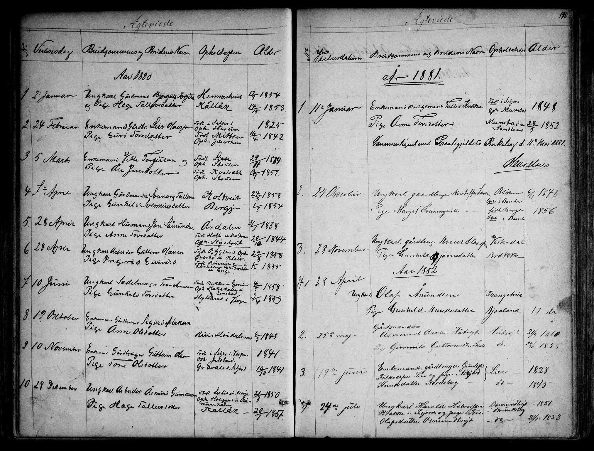 SAKO, Kviteseid kirkebøker, G/Gb/L0002: Klokkerbok nr. II 2, 1850-1892, s. 190