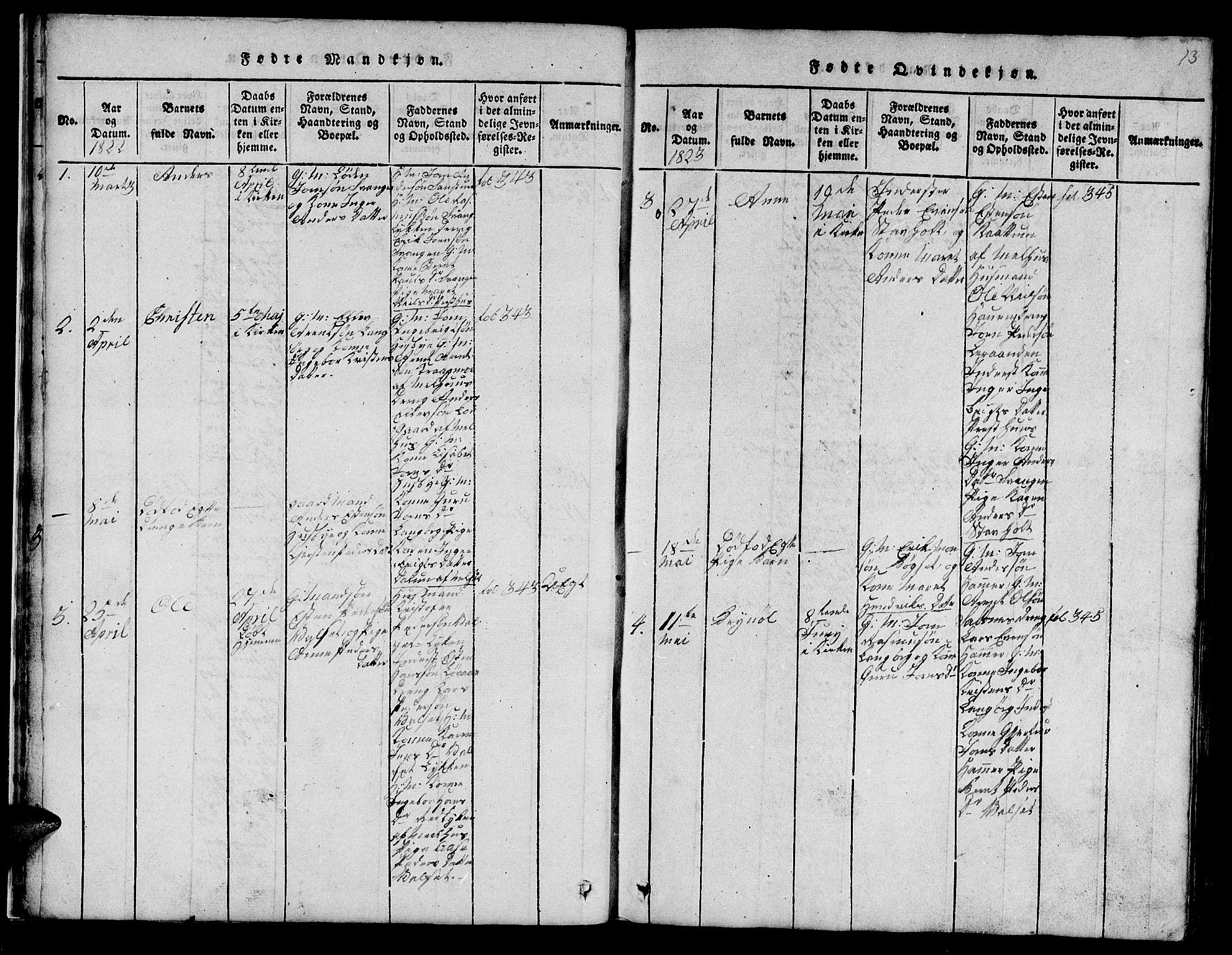 SAT, Ministerialprotokoller, klokkerbøker og fødselsregistre - Sør-Trøndelag, 666/L0788: Klokkerbok nr. 666C01, 1816-1847, s. 13
