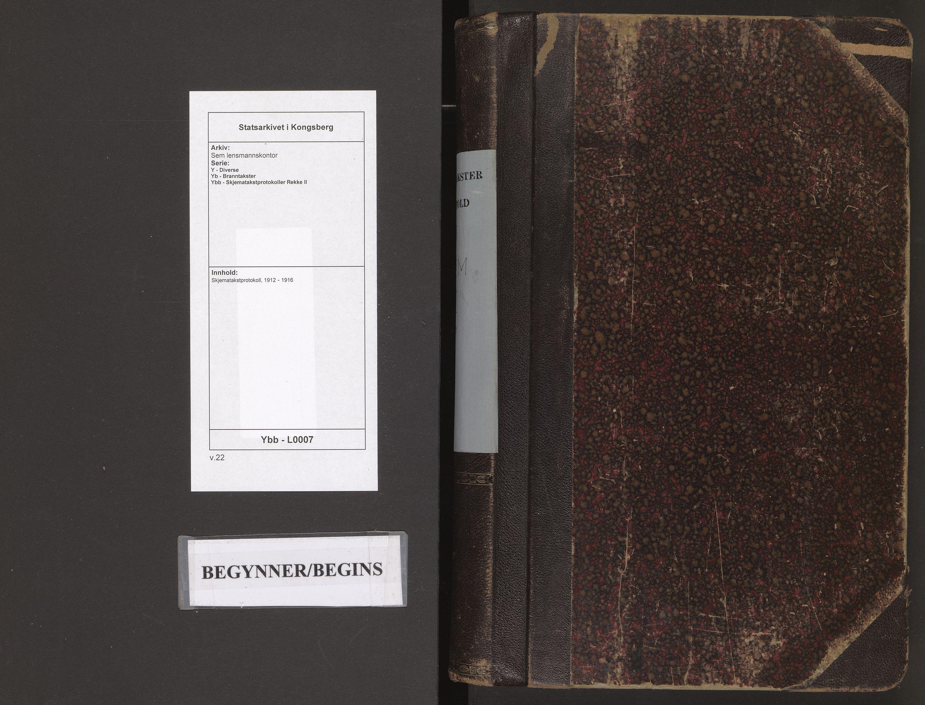 SAKO, Sem lensmannskontor, Y/Yb/Ybb/L0007: Skjematakstprotokoll, 1912-1916