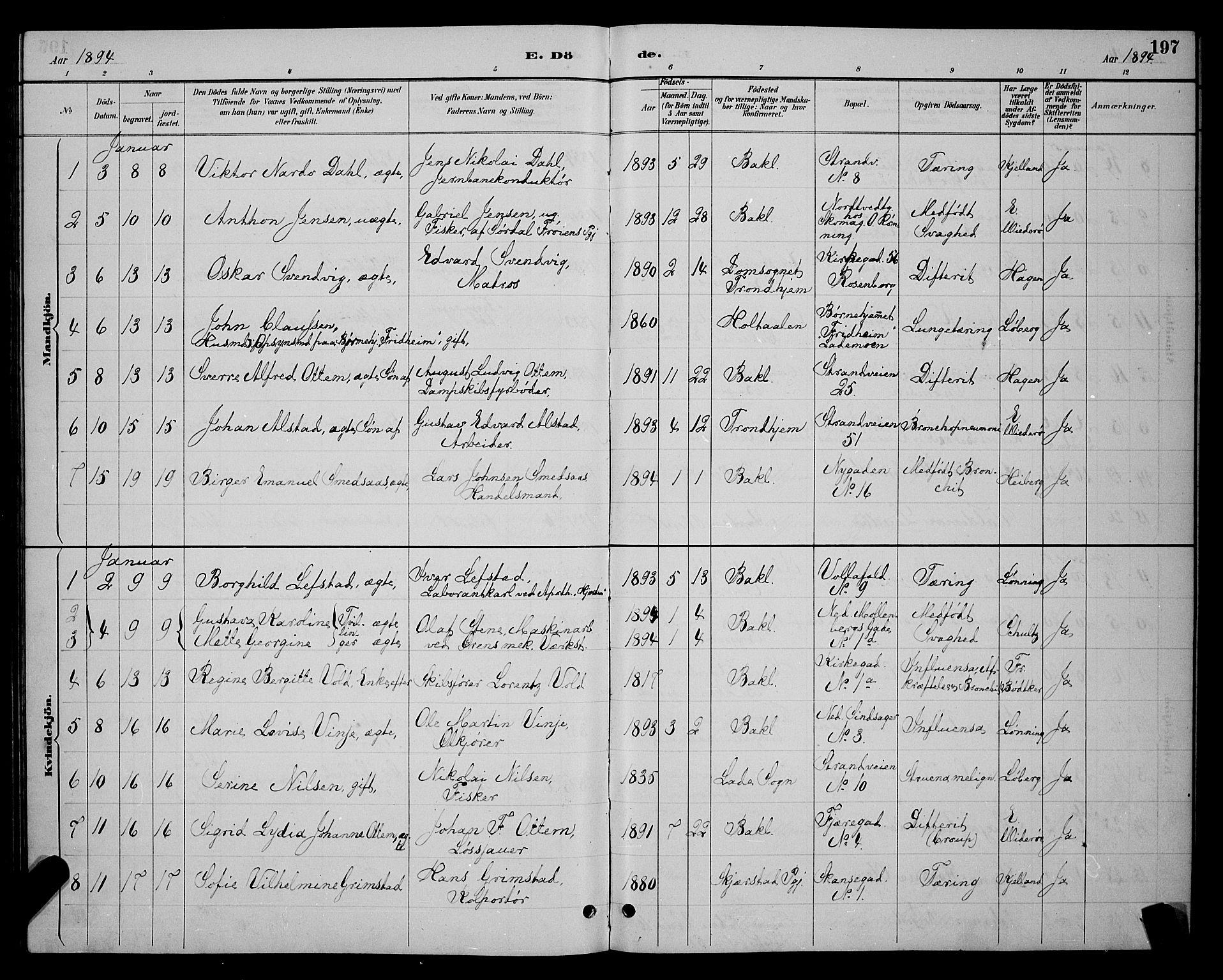 SAT, Ministerialprotokoller, klokkerbøker og fødselsregistre - Sør-Trøndelag, 604/L0223: Klokkerbok nr. 604C06, 1886-1897, s. 197