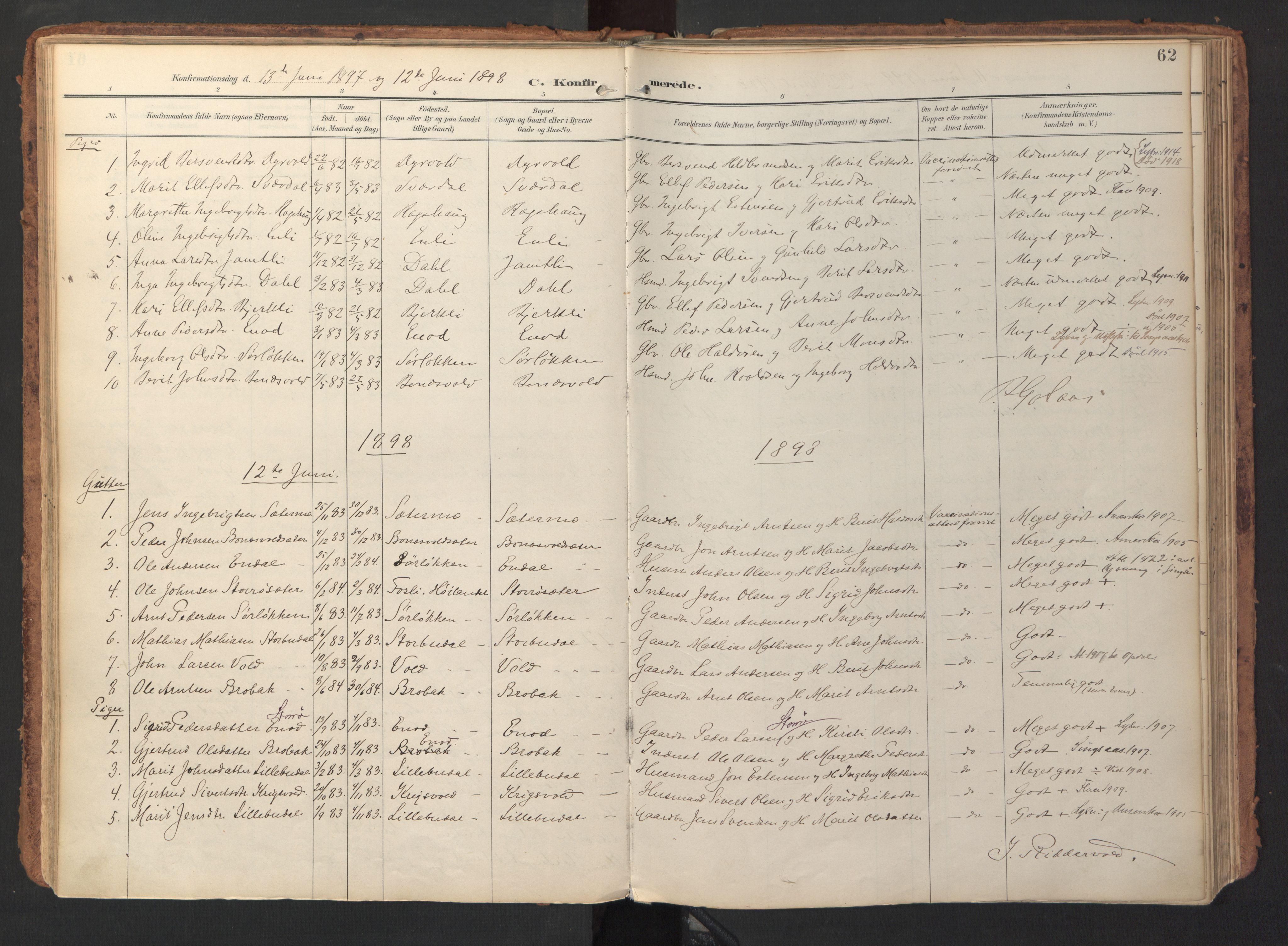 SAT, Ministerialprotokoller, klokkerbøker og fødselsregistre - Sør-Trøndelag, 690/L1050: Ministerialbok nr. 690A01, 1889-1929, s. 62