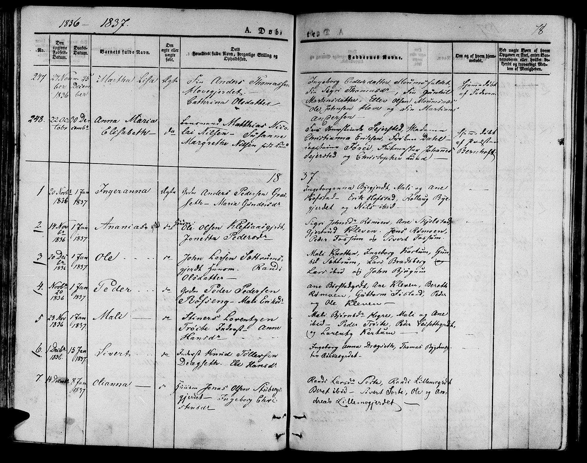 SAT, Ministerialprotokoller, klokkerbøker og fødselsregistre - Nord-Trøndelag, 709/L0071: Ministerialbok nr. 709A11, 1833-1844, s. 78