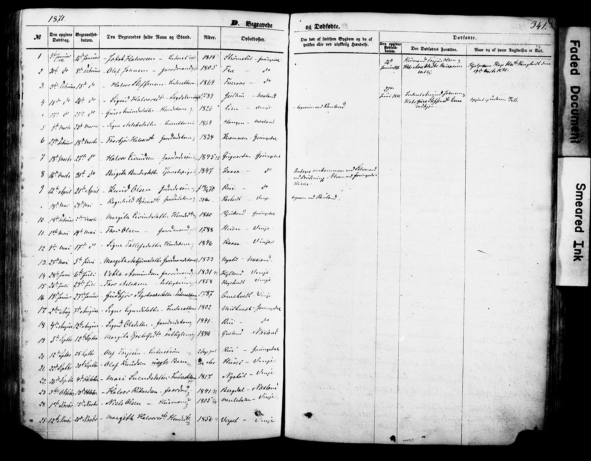 SAKO, Vinje kirkebøker, F/Fa/L0005: Ministerialbok nr. I 5, 1870-1886, s. 341
