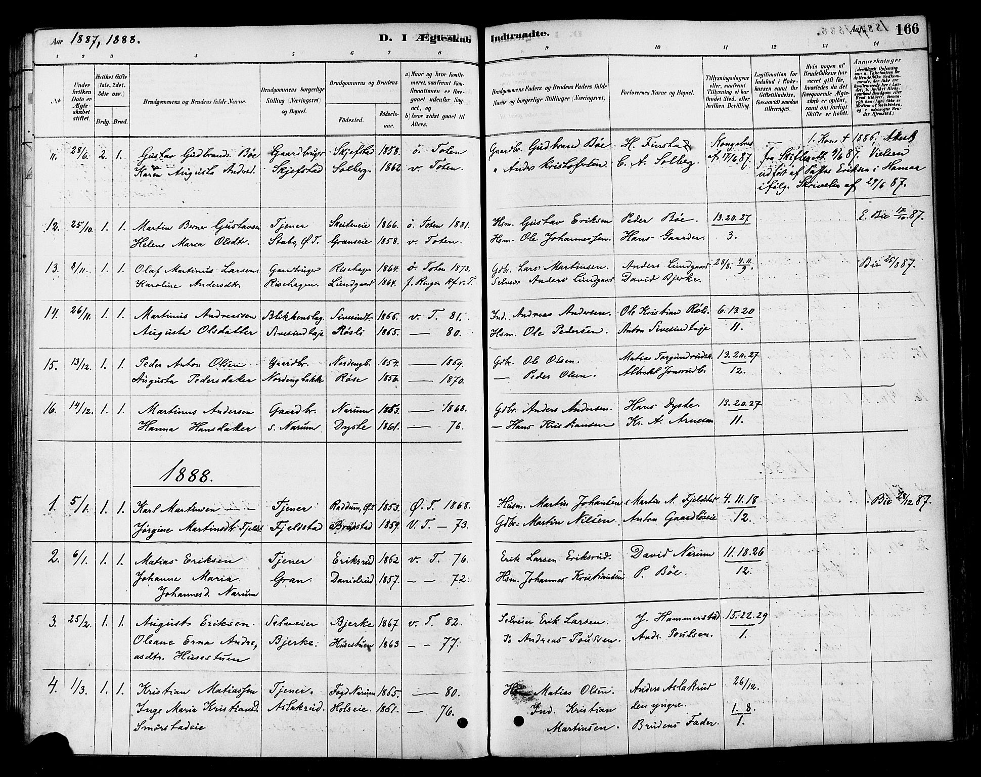 SAH, Vestre Toten prestekontor, H/Ha/Haa/L0010: Ministerialbok nr. 10, 1878-1894, s. 166