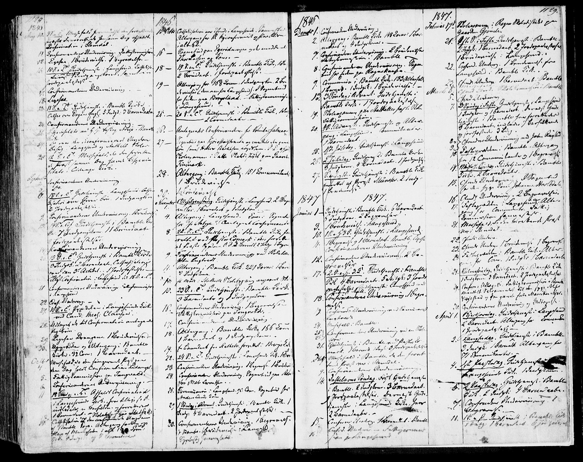 SAKO, Bamble kirkebøker, F/Fa/L0004: Ministerialbok nr. I 4, 1834-1853, s. 1128-1129