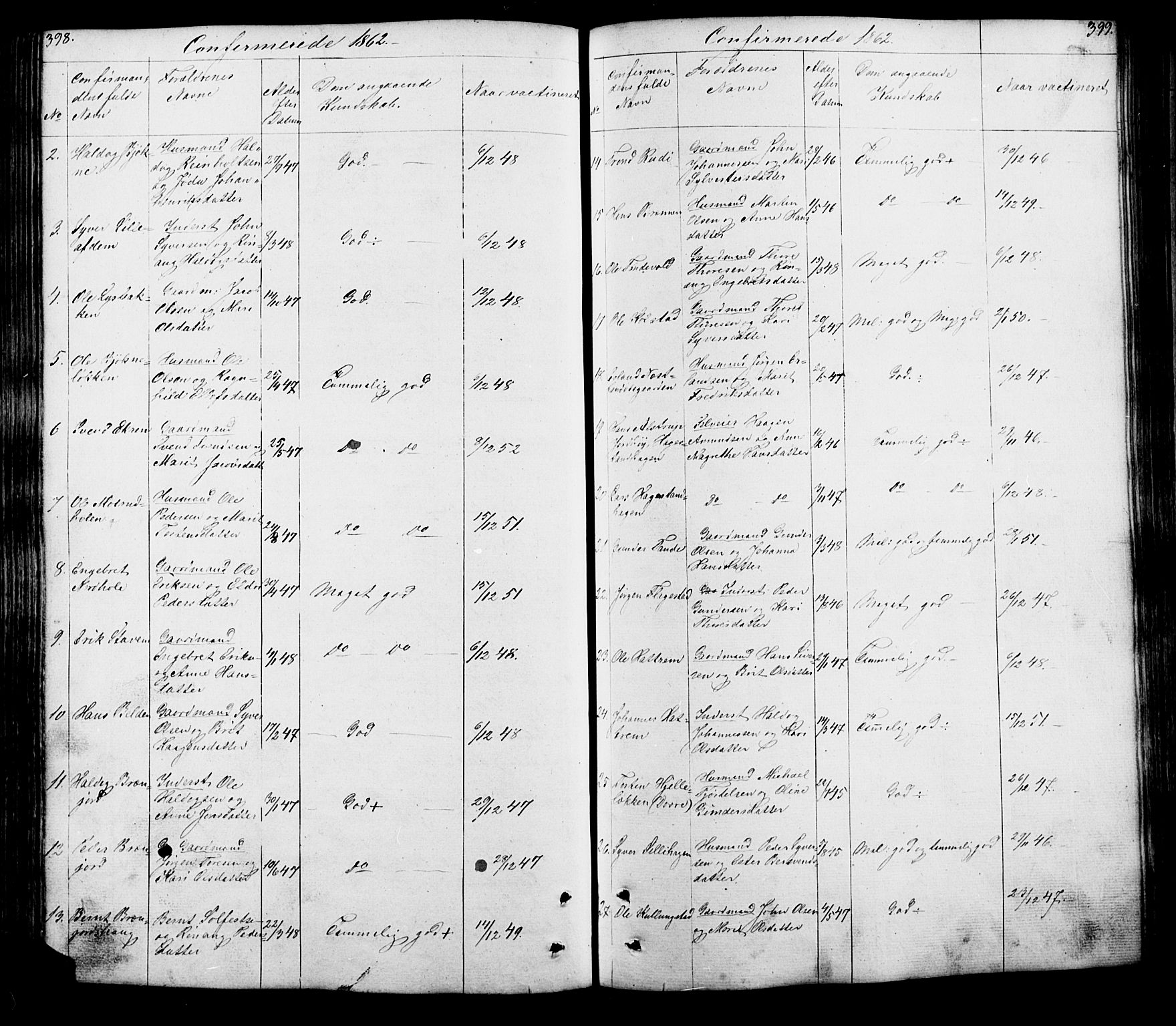 SAH, Lesja prestekontor, Klokkerbok nr. 5, 1850-1894, s. 398-399